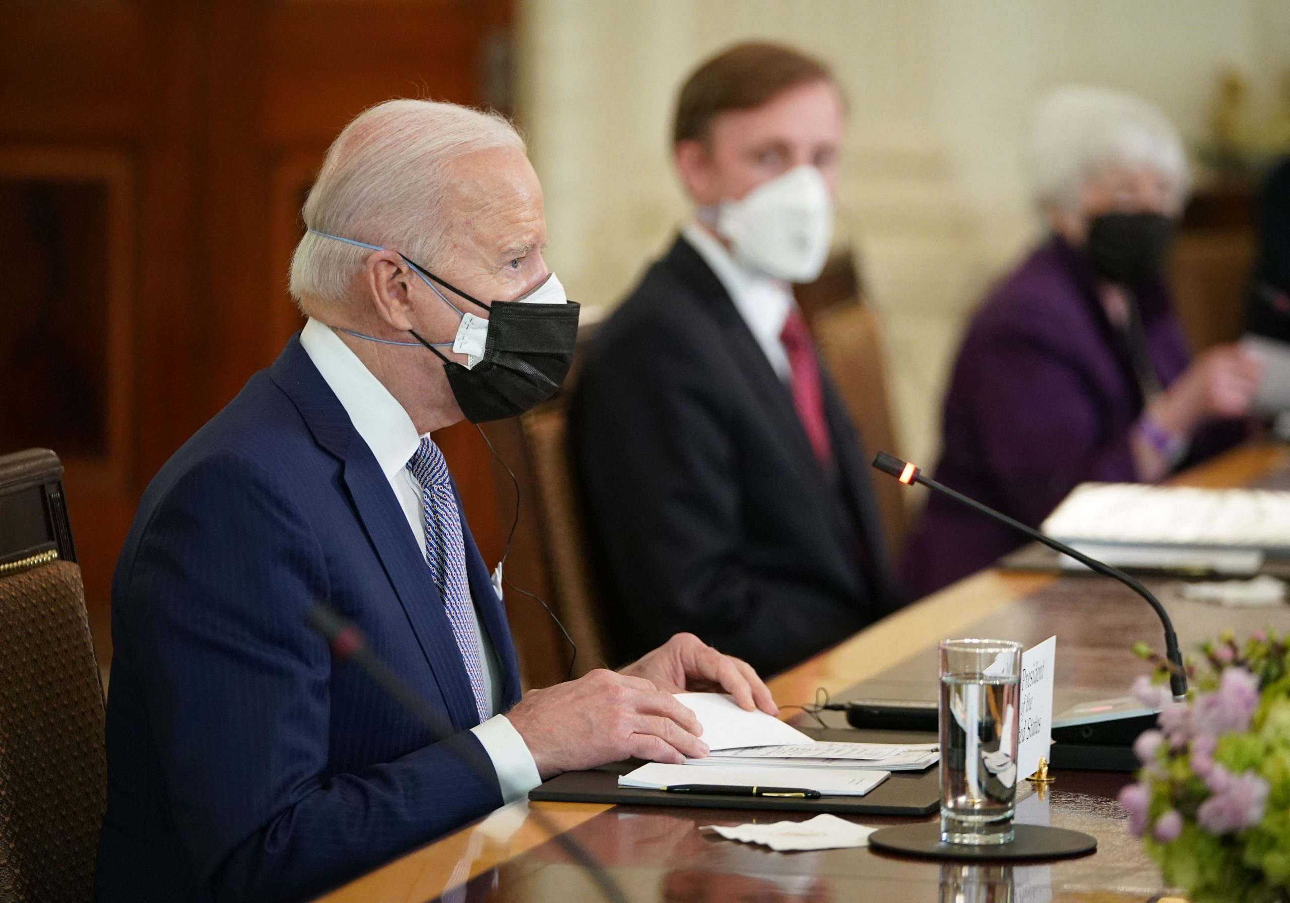 US President Joe Biden takes part in an expanded bilateral meeting with Japan's Prime Minister Yoshihide Suga in the State Dining Room of the White House in Washington, DC on April 16, 2021. (Photo by MANDEL NGAN/AFP via Getty Images)