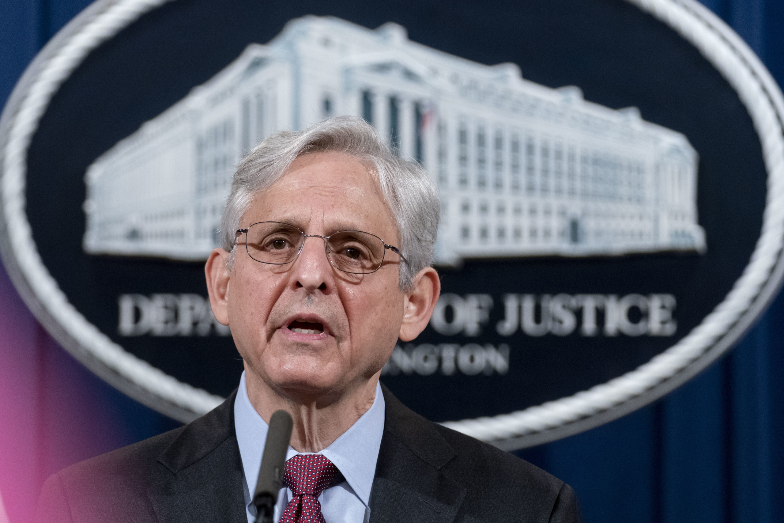 Attorney General Merrick Garland speaks about a jury's verdict in the case against former Minneapolis Police Officer Derek Chauvin in the death of George Floyd, at the Department of Justice on April 21, 2021 in Washington, DC. (Andrew Harnik-Pool/Getty Images)