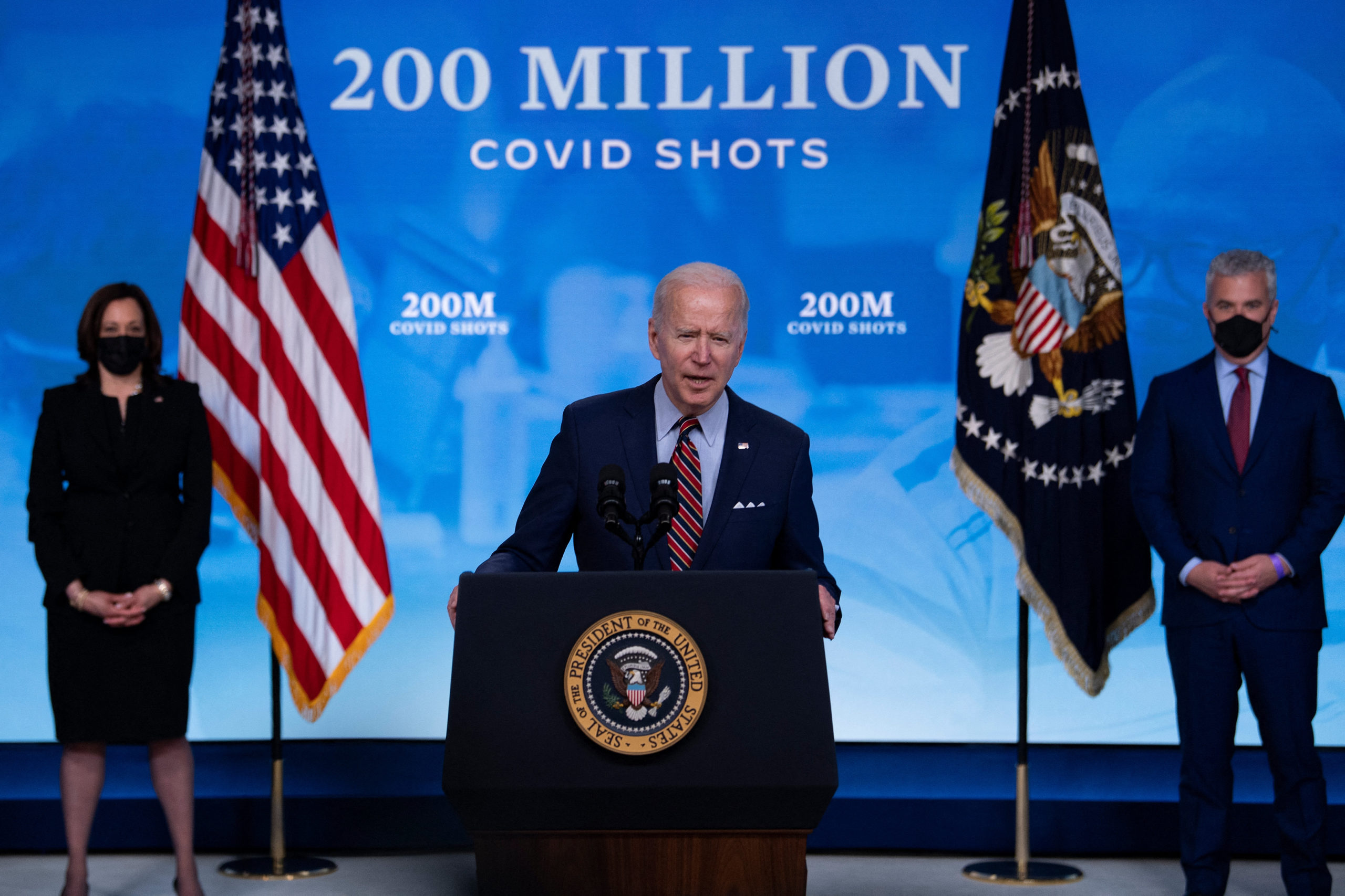 President Joe Biden speaks about the ongoing U.S. coronavirus response and the state of vaccinations on Wednesday. (Brendan Smialowski/AFP via Getty Images)