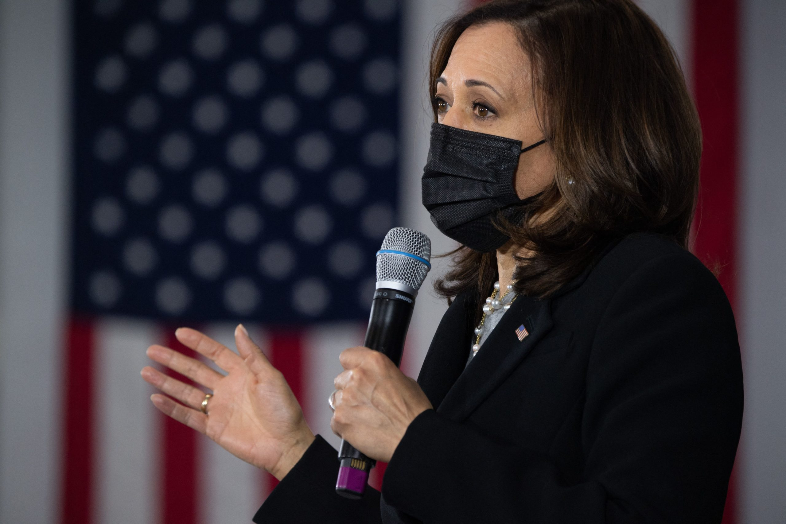 US Vice President Kamala Harris speaks after touring the IBEW Training Center in Concord, New Hampshire, April 23, 2021 as she travels to the state to promote the administrations economic plans. (Photo by SAUL LOEB/AFP via Getty Images)