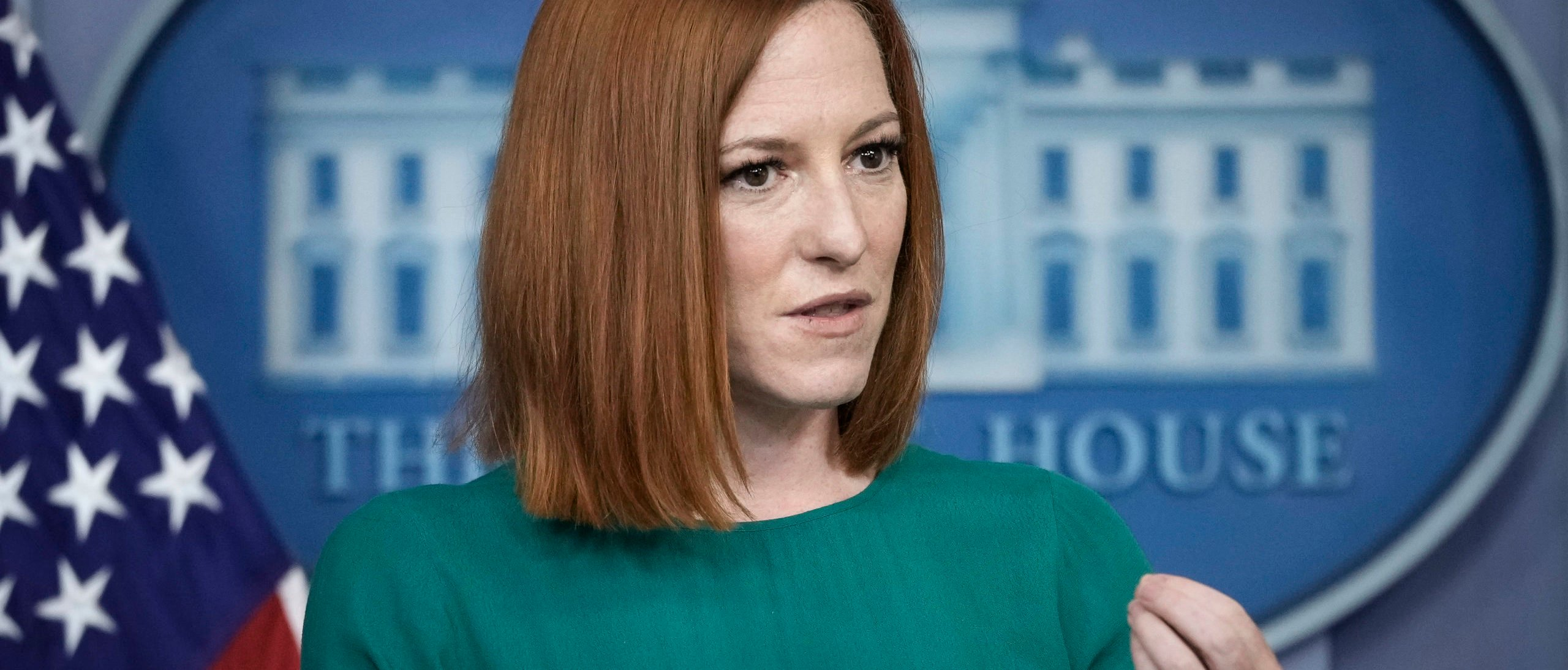 WASHINGTON, DC - APRIL 27: White House Press Secretary Jen Psaki speaks during the daily press briefing the White House on April 27, 2021 in Washington, DC. President Biden announced updated CDC guidance, saying vaccinated Americans do not need to wear a mask outside when in small groups. (Photo by Drew Angerer/Getty Images)