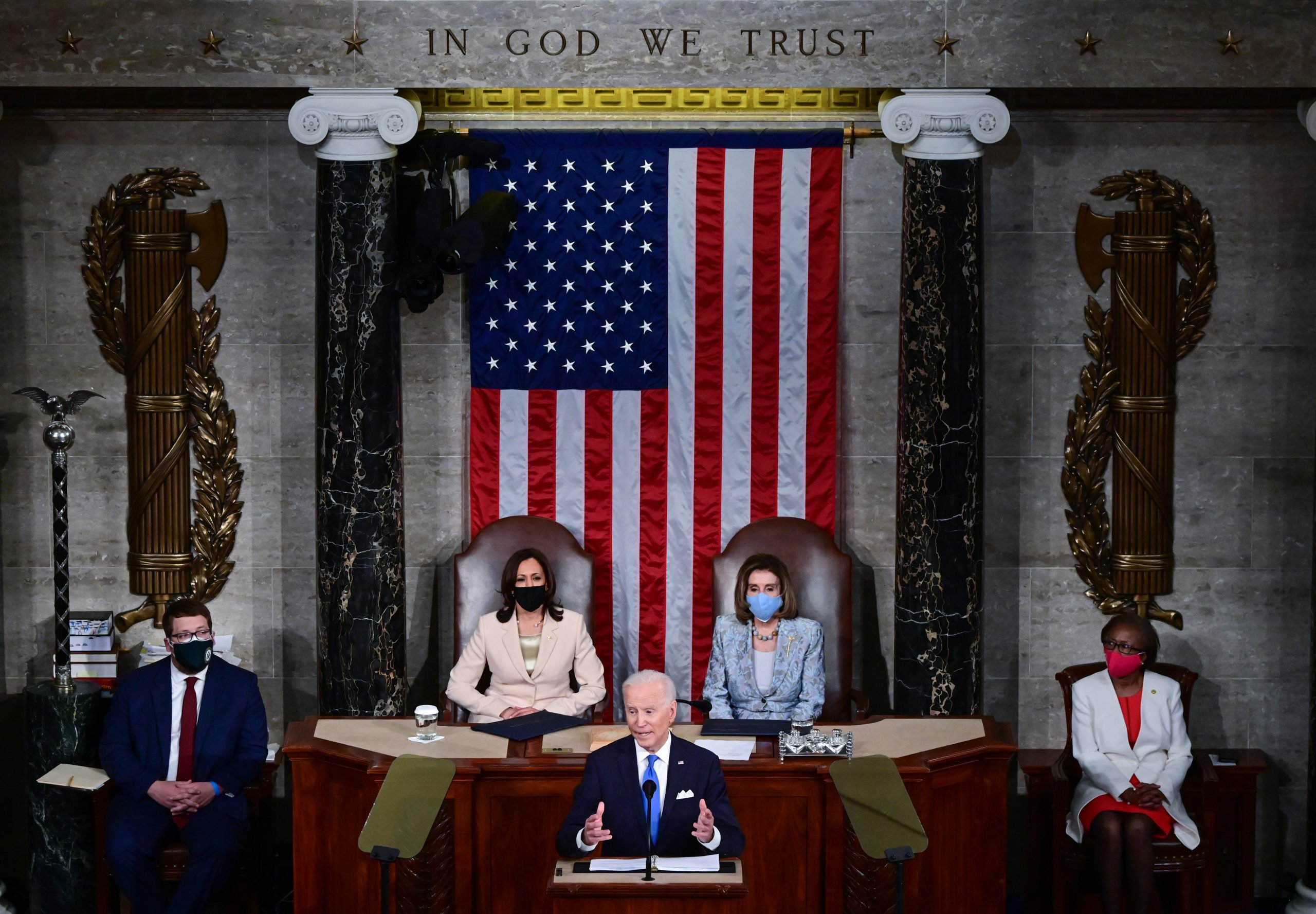 President Joe Biden addresses a joint session of congress as Vice President Kamala Harris and House Speaker Nancy Pelosi look on in the House chamber of the U.S. Capitol on Wednesday evening. (Jim Watson/Pool/Getty Images)