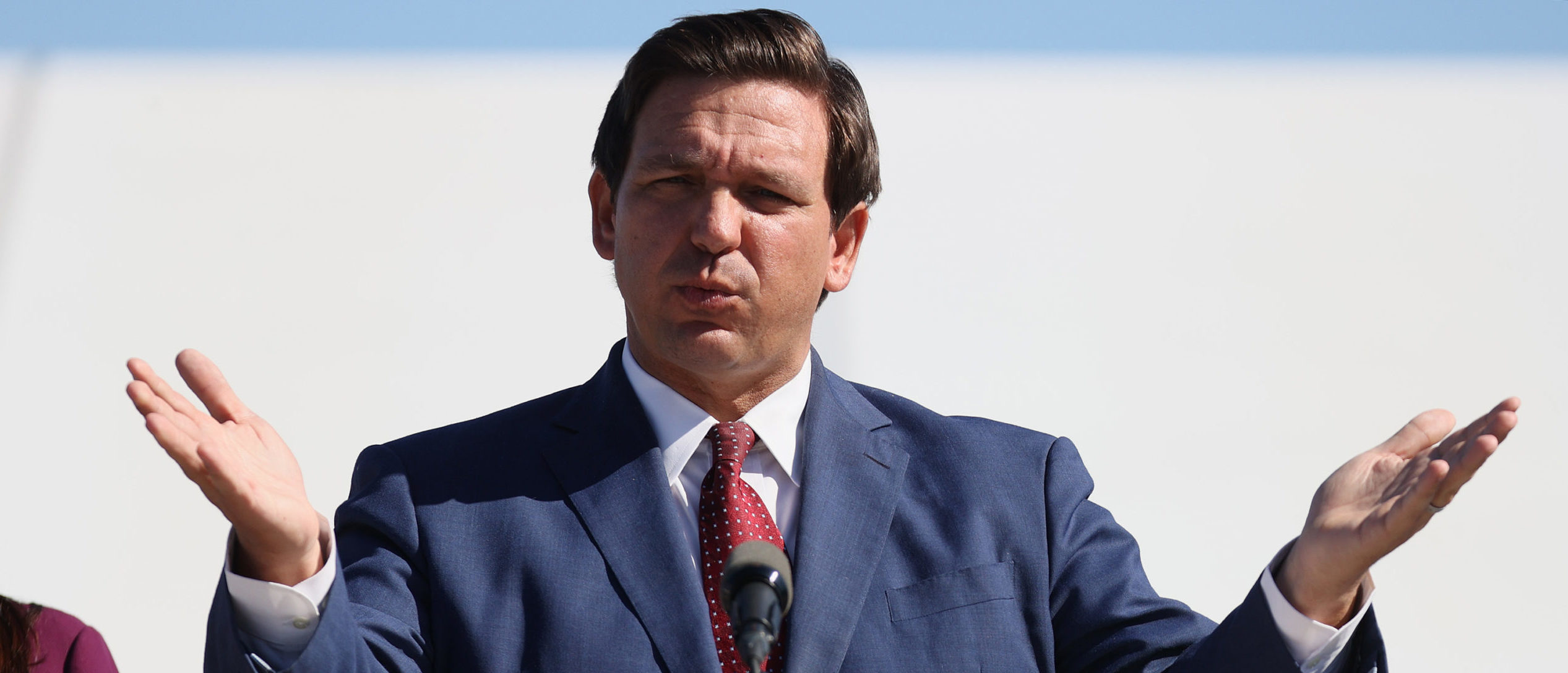 Florida Governor Ron DeSantis speaks during a press conference about the opening of a COVID-19 vaccination site at the Hard Rock Stadium on January 06, 2021 in Miami Gardens, Florida. (Joe Raedle/Getty Images)