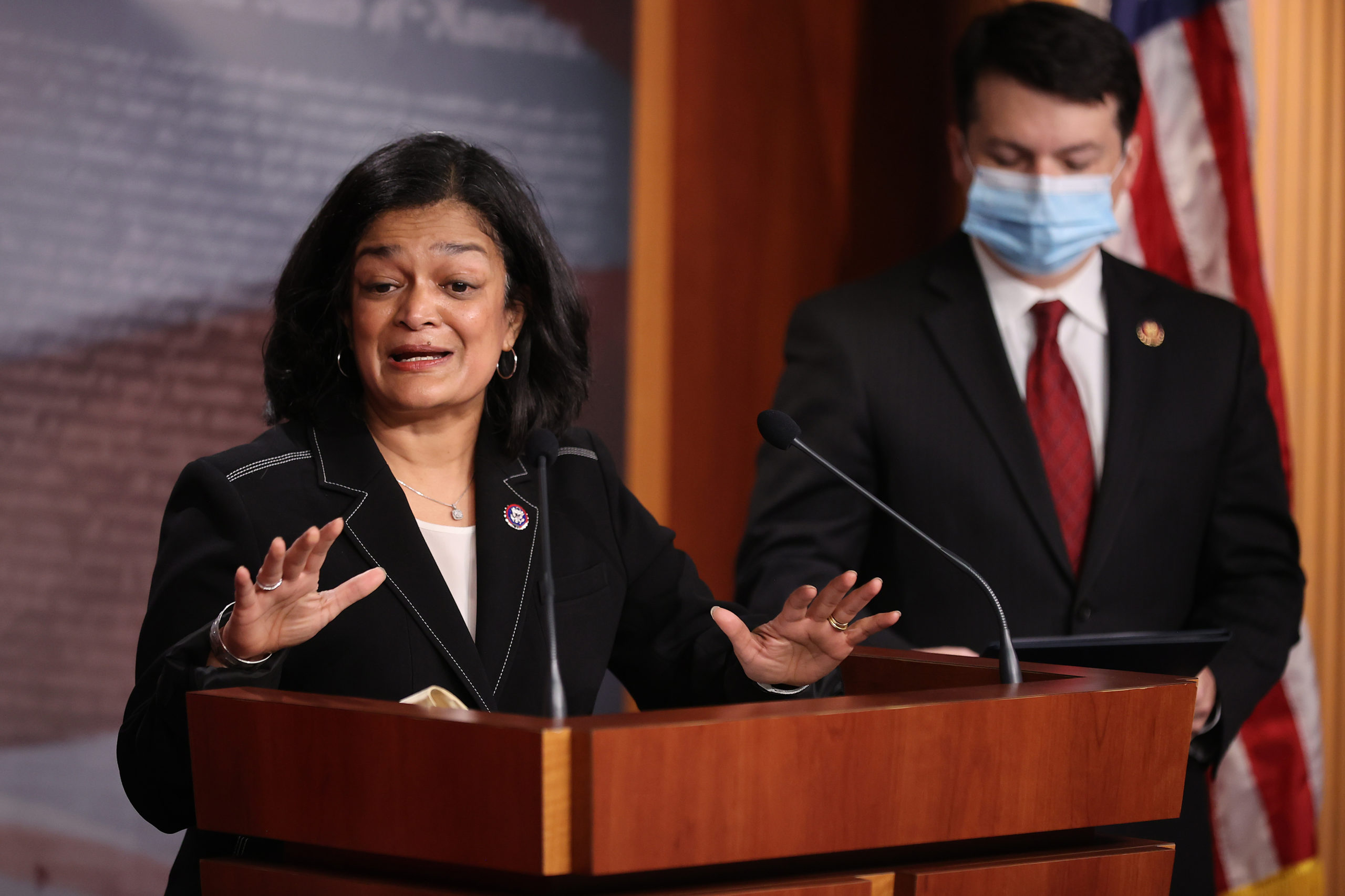 Rep. Pramila Jayapal holds a news conference on March 1. (Chip Somodevilla/Getty Images)