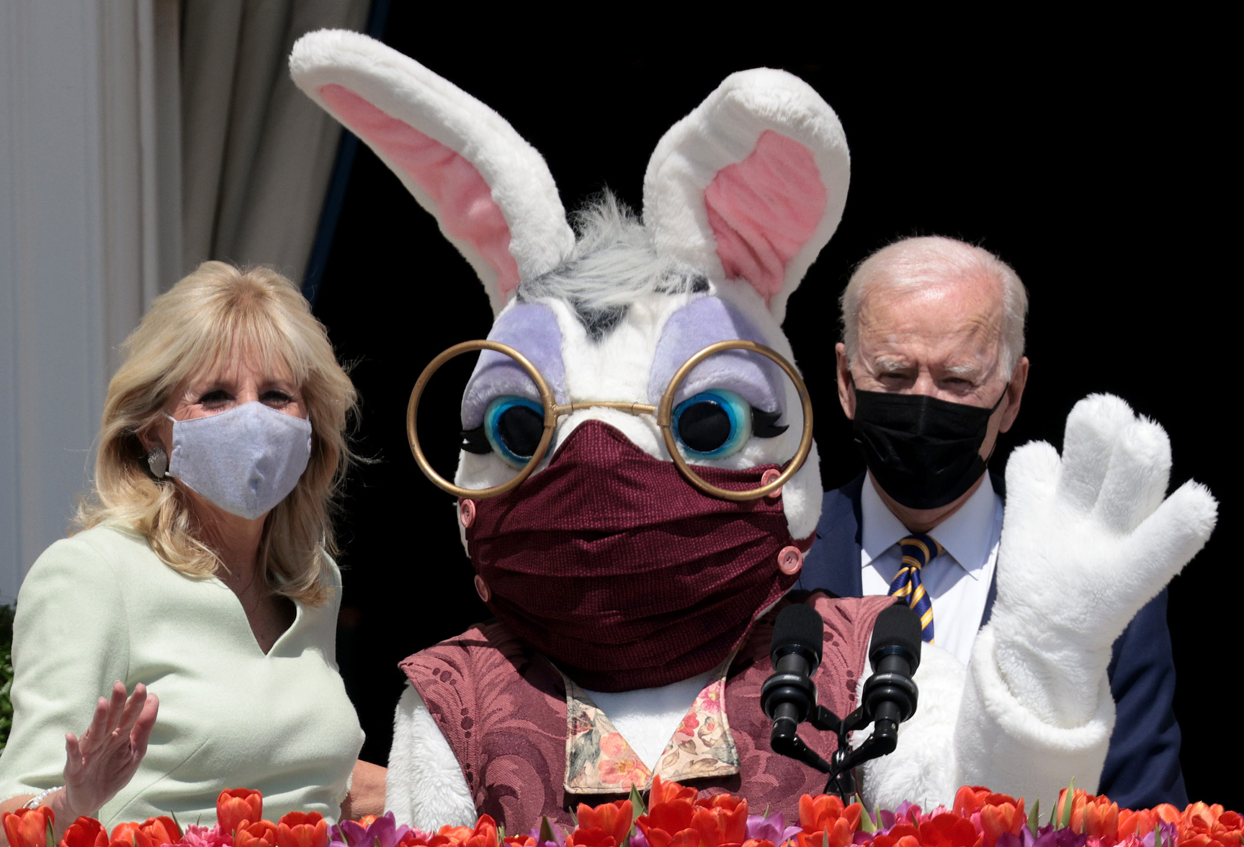 WASHINGTON, DC - APRIL 05: U.S. President Joe Biden and first lady Jill Biden appear with the Easter Bunny at the White House on April 05, 2021 in Washington, DC. The year's traditional Easter Egg Roll was canceled this year due to the coronavirus pandemic. (Photo by Win McNamee/Getty Images)