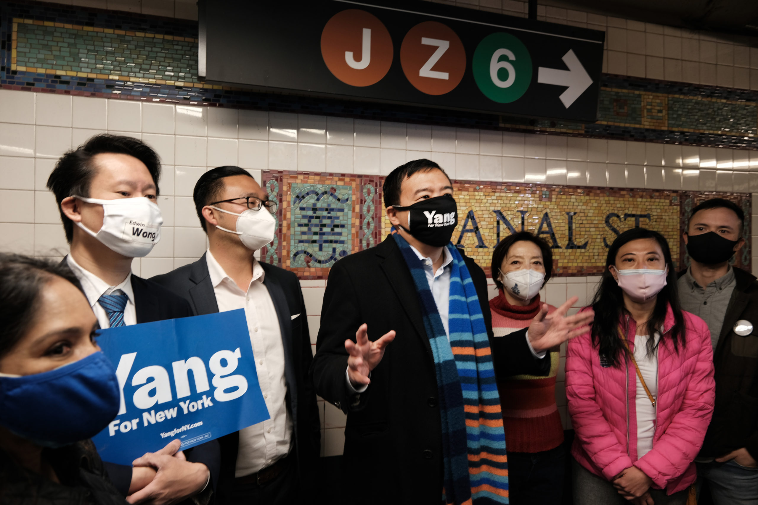 Andrew Yang speaks to members of the media along Canal Street subway station in Chinatown on April 05, 2021. (Spencer Platt/Getty Images)