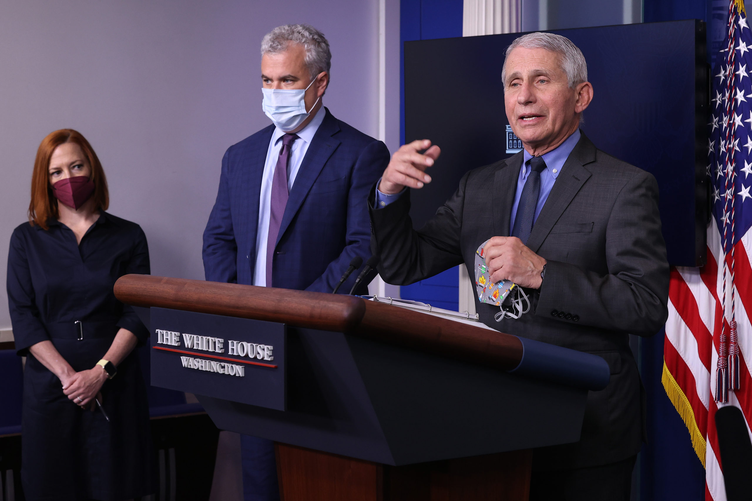 Dr. Anthony Fauci briefs reporters about the U.S. vaccination effort at the White House on April 13. (Chip Somodevilla/Getty Images)