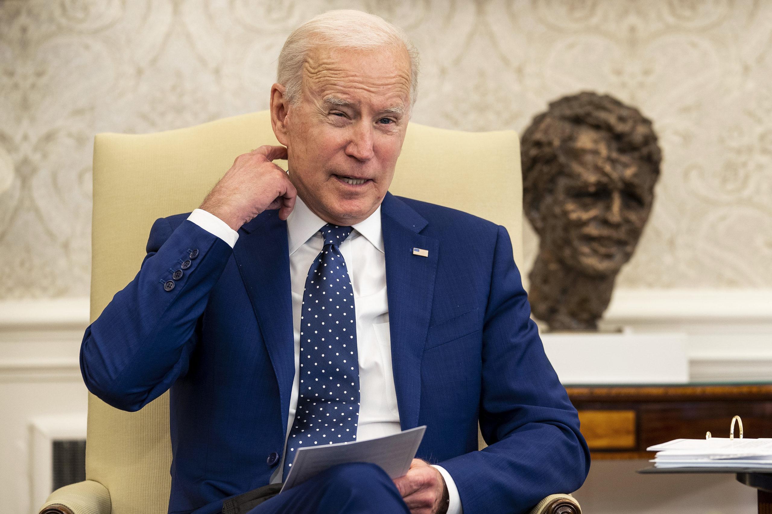 President Joe Biden meets with members of Congress. (Doug Mills/Pool/Getty Images)