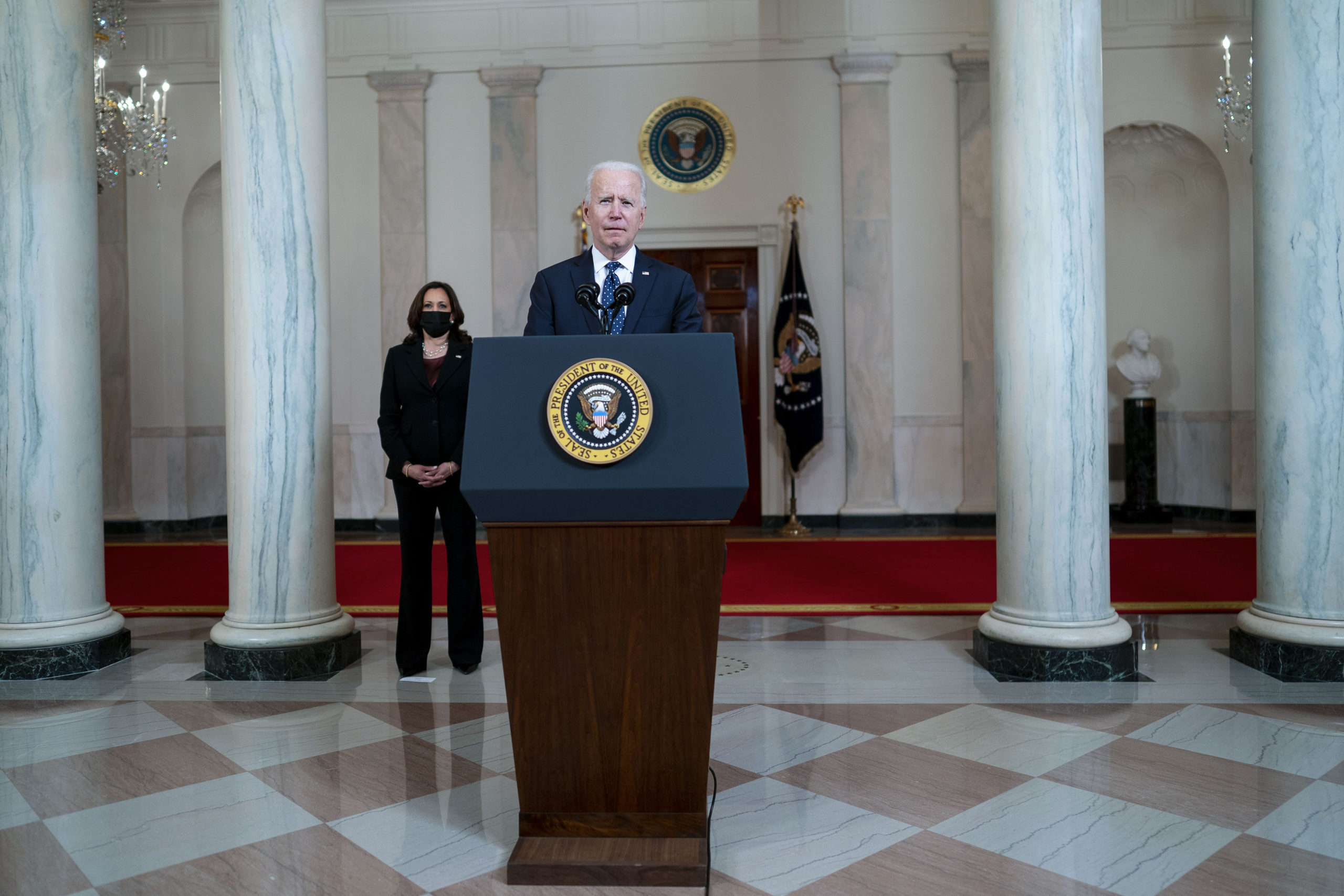 President Joe Biden makes remarks as Vice President Kamala Harris looks on in response to the verdict in the murder trial of former Minneapolis police officer Derek Chauvin on April 20. (Doug Mills/Pool/Getty Images)