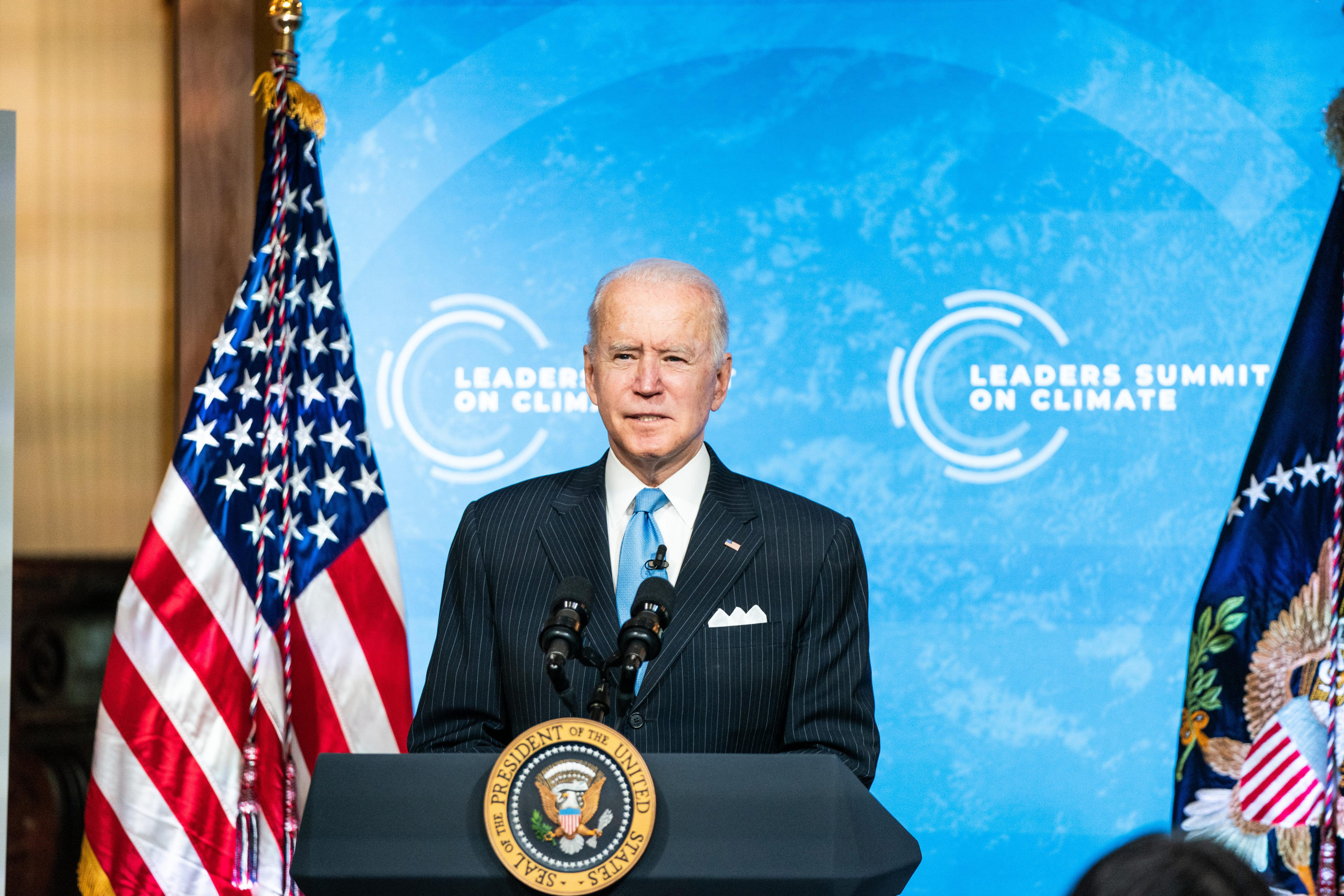 WASHINGTON, DC - APRIL 23: U.S. President Joe Biden delivers remarks during day 2 of the virtual Leaders Summit on Climate at the East Room of the White House April 23, 2021 in Washington, DC. Biden pledged to cut greenhouse gas emissions by half by 2030. (Photo by Anna Moneymaker-Pool/Getty Images)