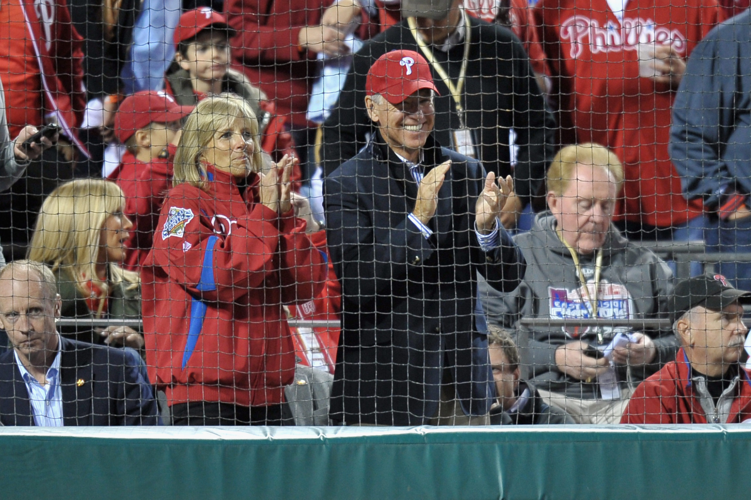 PHILADELPHIA, PA - OCTOBER 07: U.S. Vice President Joe Biden and his wife Jill watch the Philadelphia Phillies host the St. Louis Cardinals during Game Five of the National League Divisional Series at Citizens Bank Park on October 7, 2011 in Philadelphia, Pennsylvania. (Photo by Drew Hallowell/Getty Images)