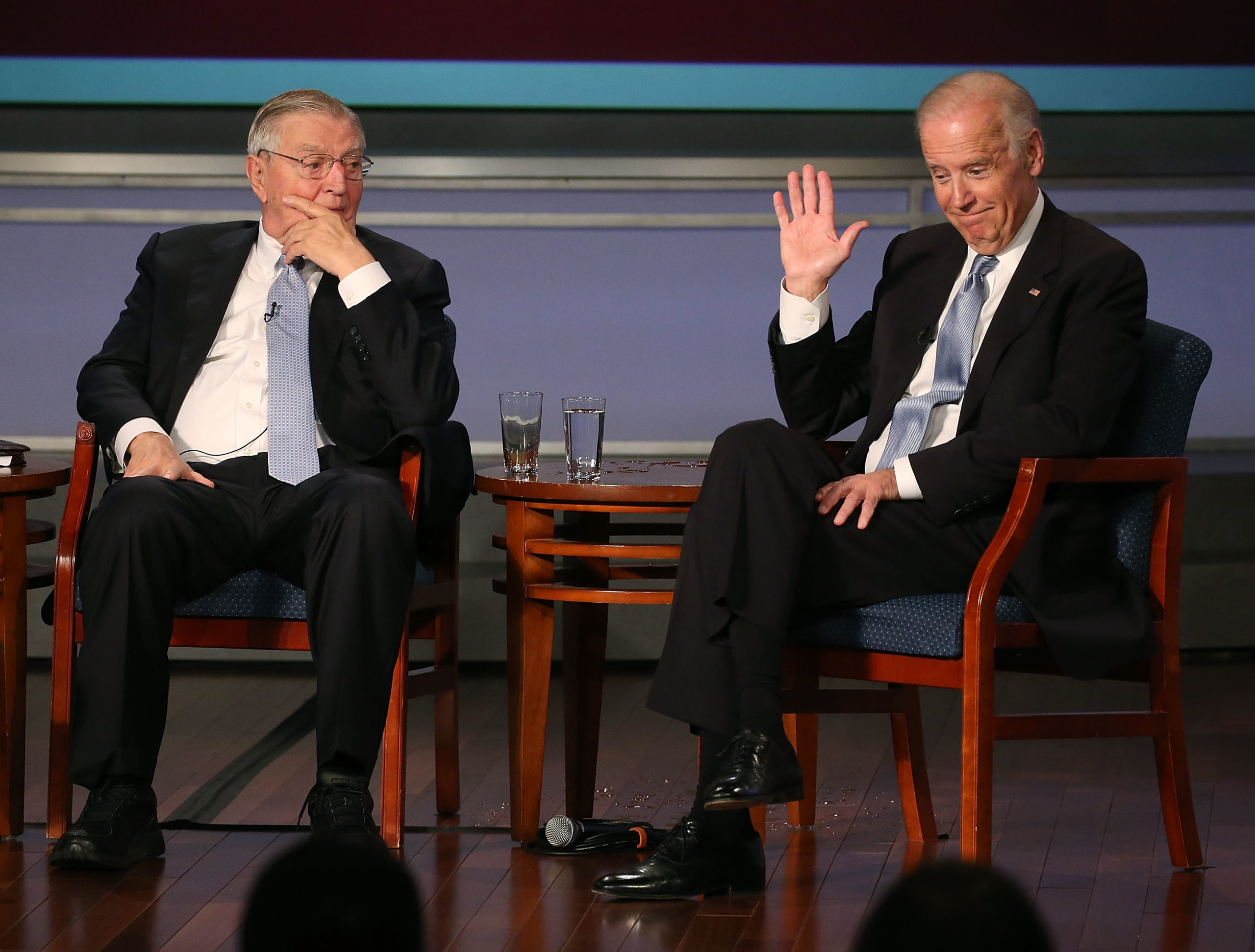 WASHINGTON, DC - OCTOBER 20: US Vice President Joe Biden (R) apeaks about former Vice President Walter Mondale (L) during an event to honor the former VP at George Washington University October 20, 2015 in Washington, DC. Biden remains at the center of rumors regarding a potential campaign for the U.S. presidency. (Photo by Mark Wilson/Getty Images)