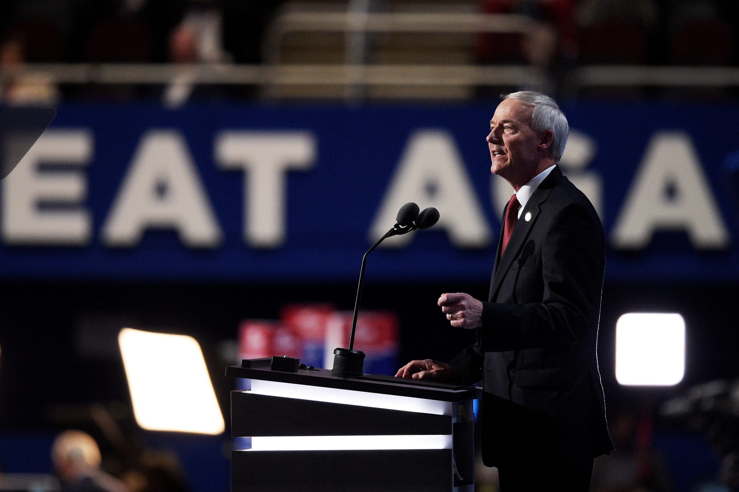 CLEVELAND, OH - JULY 19: Gov. Asa Hutchinson (R-AR) delivers a speech on the second day of the Republican National Convention on July 19, 2016 at the Quicken Loans Arena in Cleveland, Ohio. Republican presidential candidate Donald Trump received the number of votes needed to secure the party's nomination. An estimated 50,000 people are expected in Cleveland, including hundreds of protesters and members of the media. The four-day Republican National Convention kicked off on July 18. (Photo by Jeff Swensen/Getty Images)