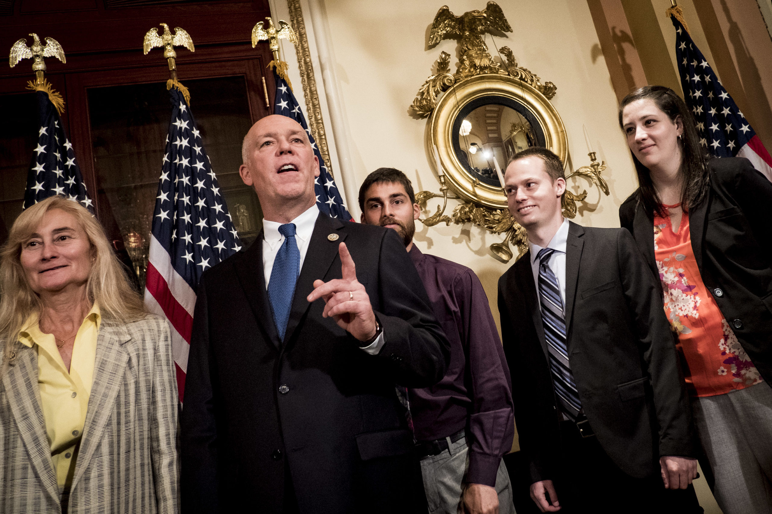 Montana Republican Greg Gianforte speaks to the press on June 21, 2017 in Washington, D.C. (Pete Marovich/Getty Images)