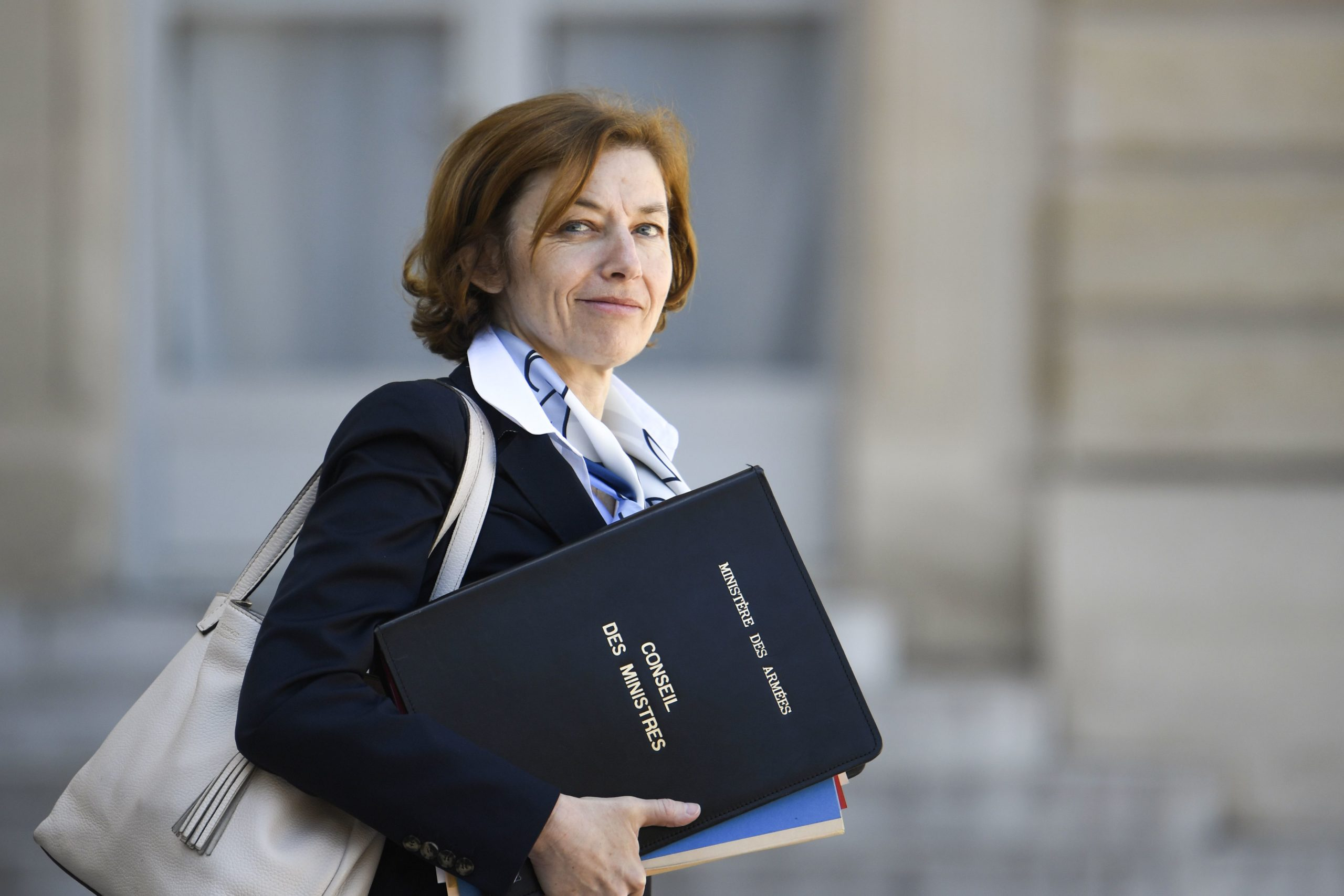 French Defence Minister Florence Parly leaves the Elysee Presidential palace in Paris, on April 27, 2018, after the weekly cabinet meeting. (Photo by Eric FEFERBERG / AFP) (Photo credit should read ERIC FEFERBERG/AFP via Getty Images)