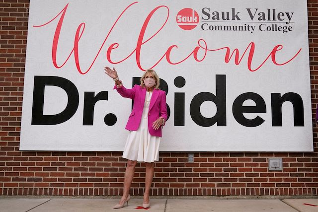 First Lady Jill Biden in Dixon, Illinois (Photo by SUSAN WALSH/POOL/AFP via Getty Images)