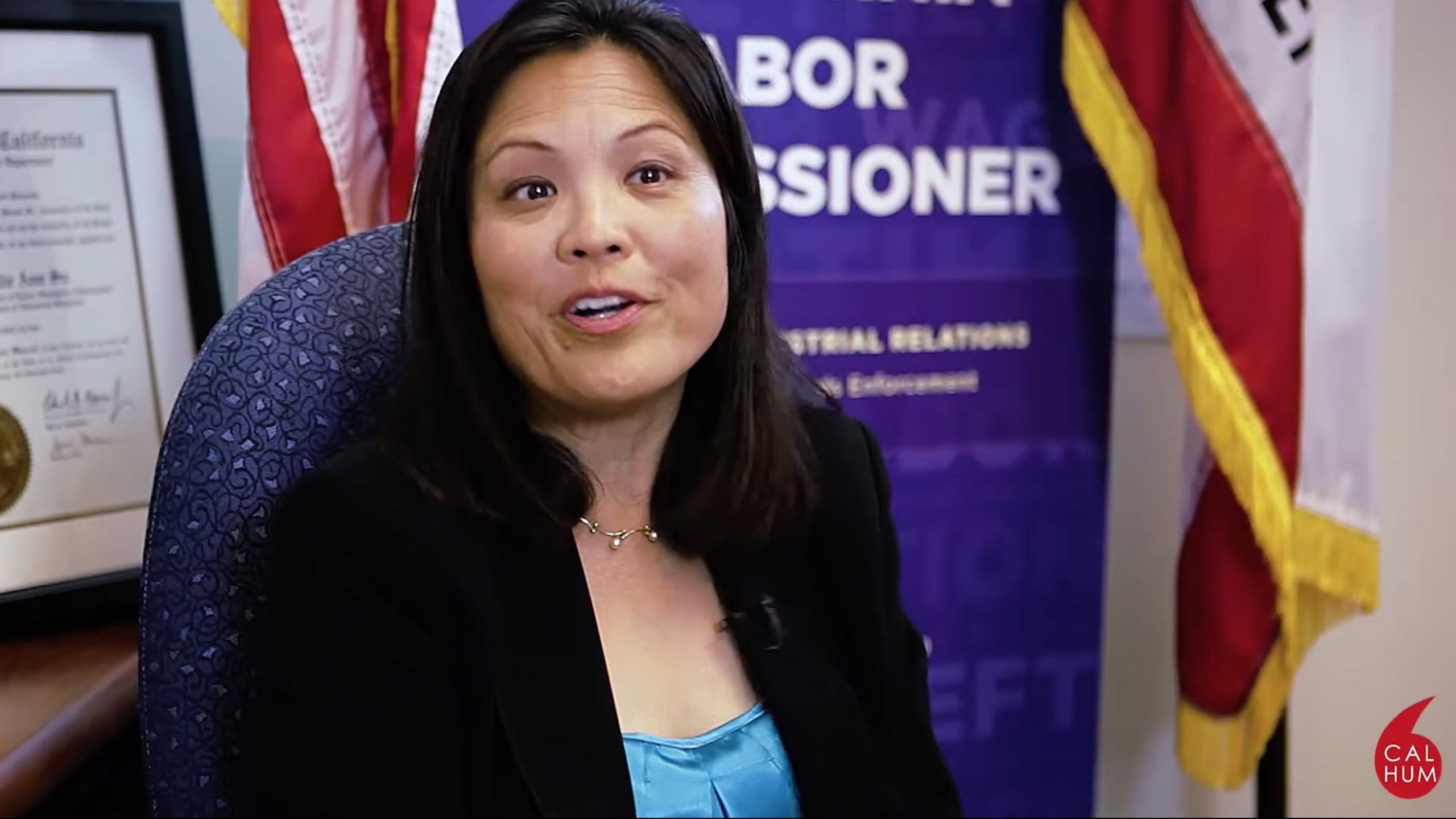 Julie Su speaks in a video message on Dec. 8, 2016 when she served as California labor commissioner. (California Humanities/Video screenshot/YouTube)