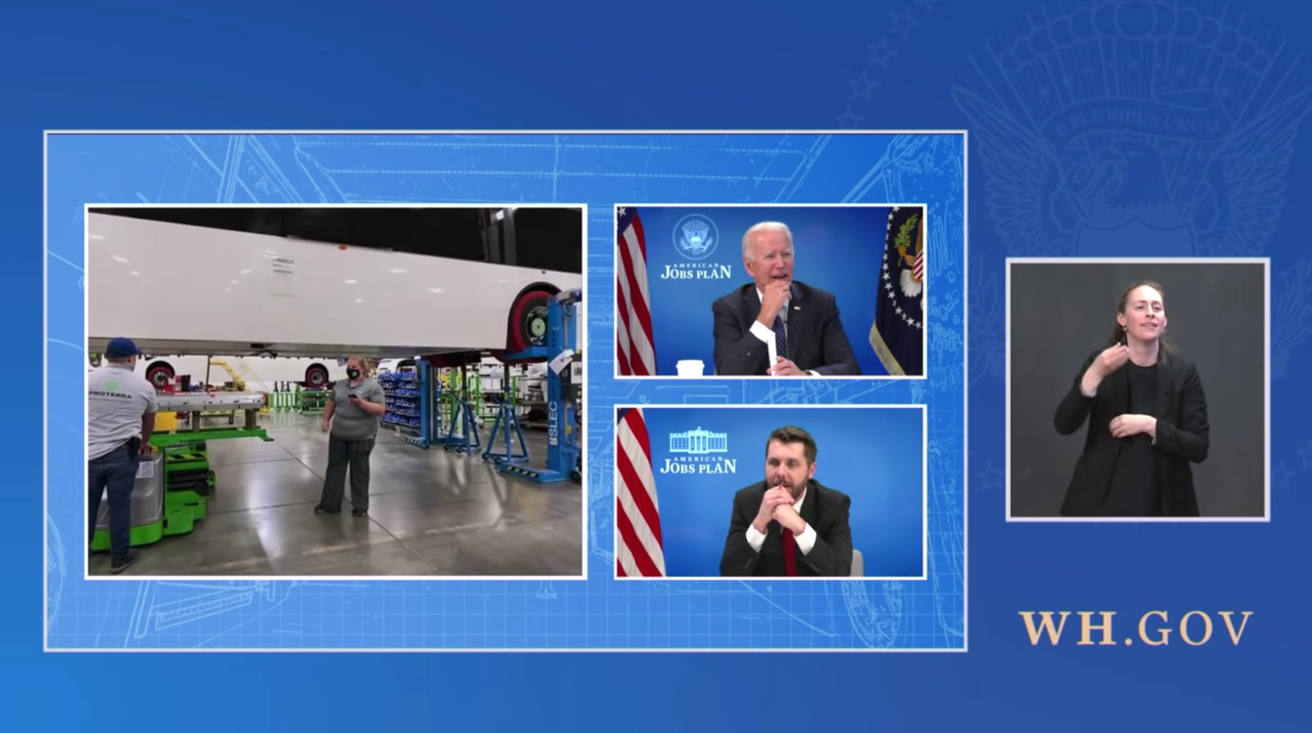 President Joe Biden and National Economic Council Director Brian Deese attend a virtual tour of electric vehicle maker Proterras South Carolina factory on April 20. (White House/Video screenshot/YouTube)