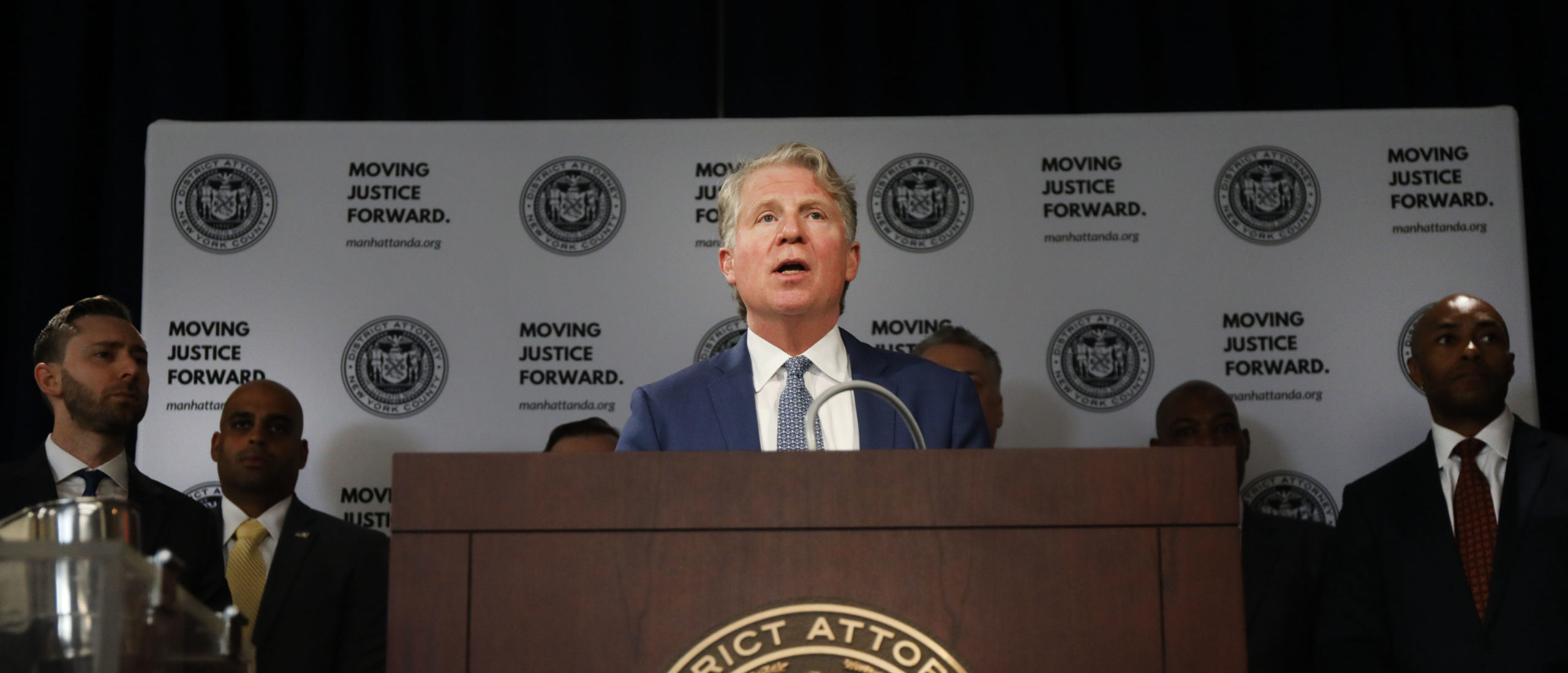 Surrounded by pictures and items seized, Manhattan District Attorney Cyrus Vance Jr. announces the take down of a crime ring run on the dark web on April 16, 2019 in New York City. (Photo by Spencer Platt/Getty Images)