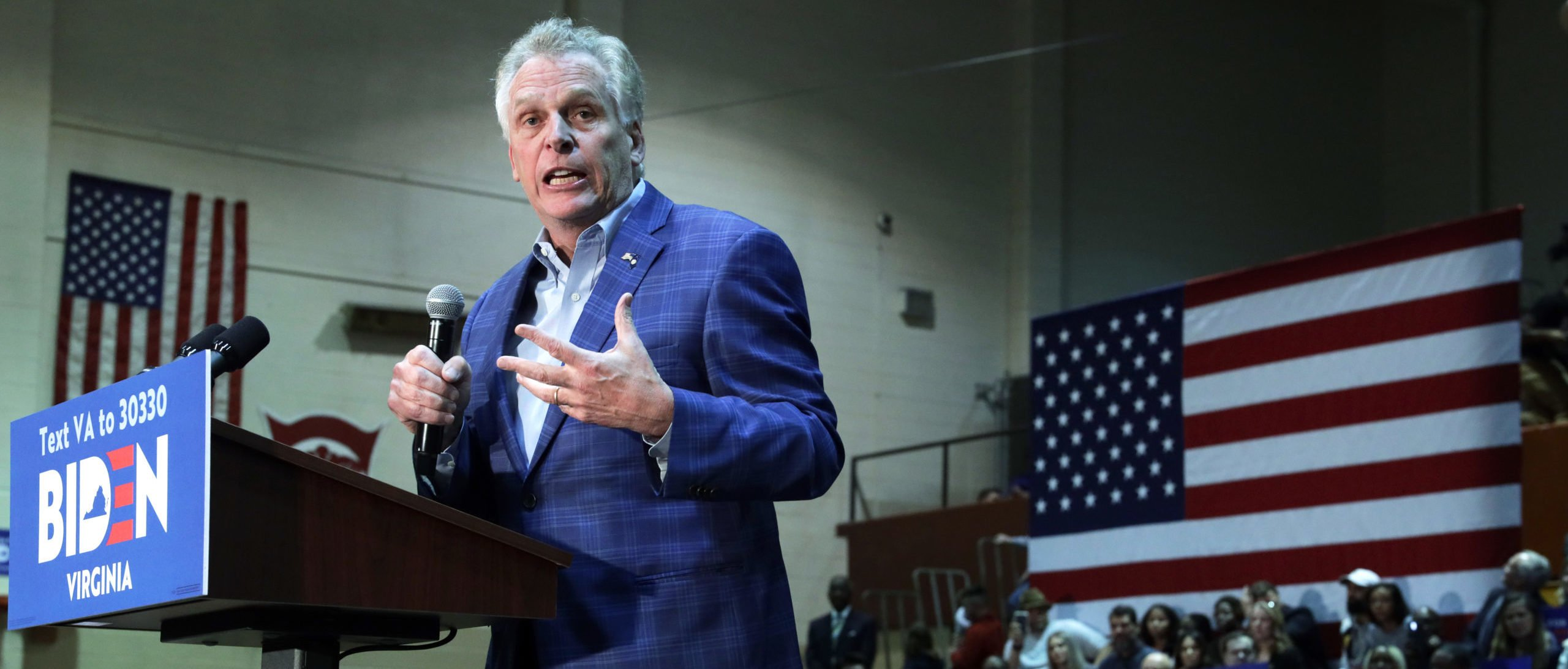 Former Virginia Governor Terry McAuliffe speaks during a campaign event of Democratic presidential candidate former Vice President Joe Biden at Booker T. Washington High School March 1, 2020 in Norfolk, Virginia. (Photo by Alex Wong/Getty Images)