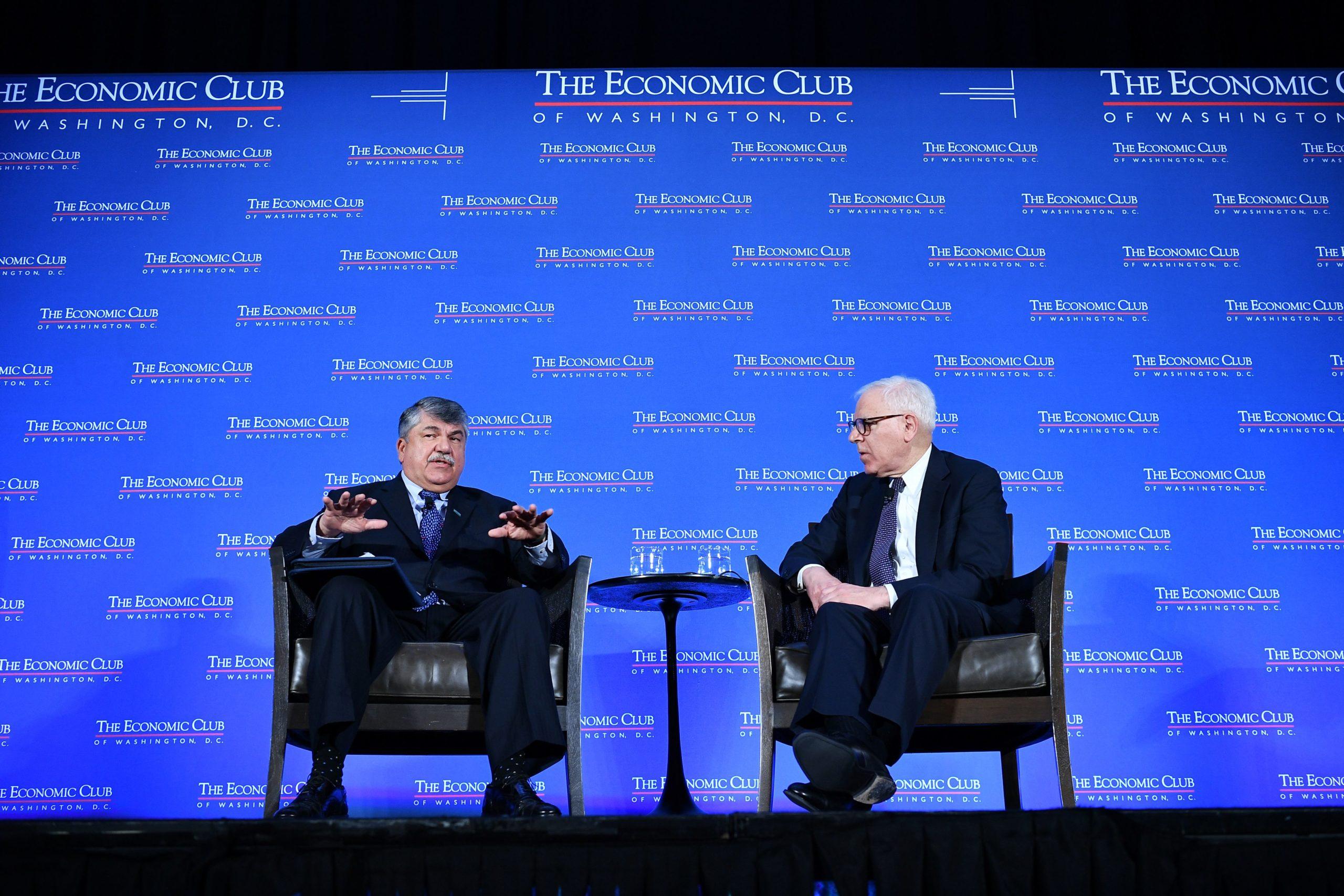 AFL-CIO President Richard Trumka speaks with The Economic Club of Washington President David Rubenstein in April 2019. (Mandel Ngan/AFP via Getty Images)