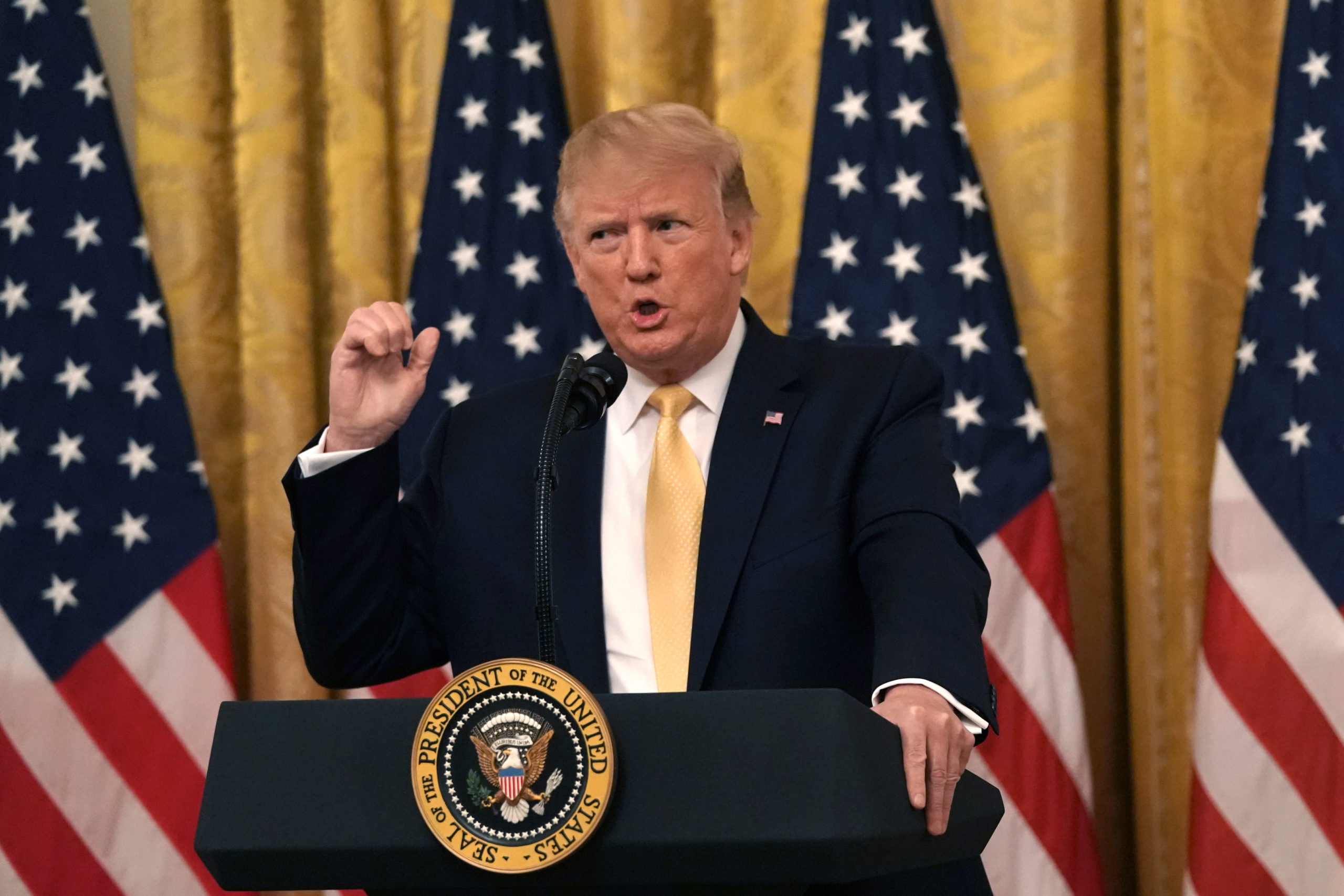 """WASHINGTON, DC - JULY 11: U.S. President Donald Trump speaks during a """"Presidential Social Media Summit"""" in the East Room of the White House July 11, 2019 in Washington, DC. President Trump hosted a group of his political allies to discuss """"social media."""" (Photo by Alex Wong/Getty Images)"""