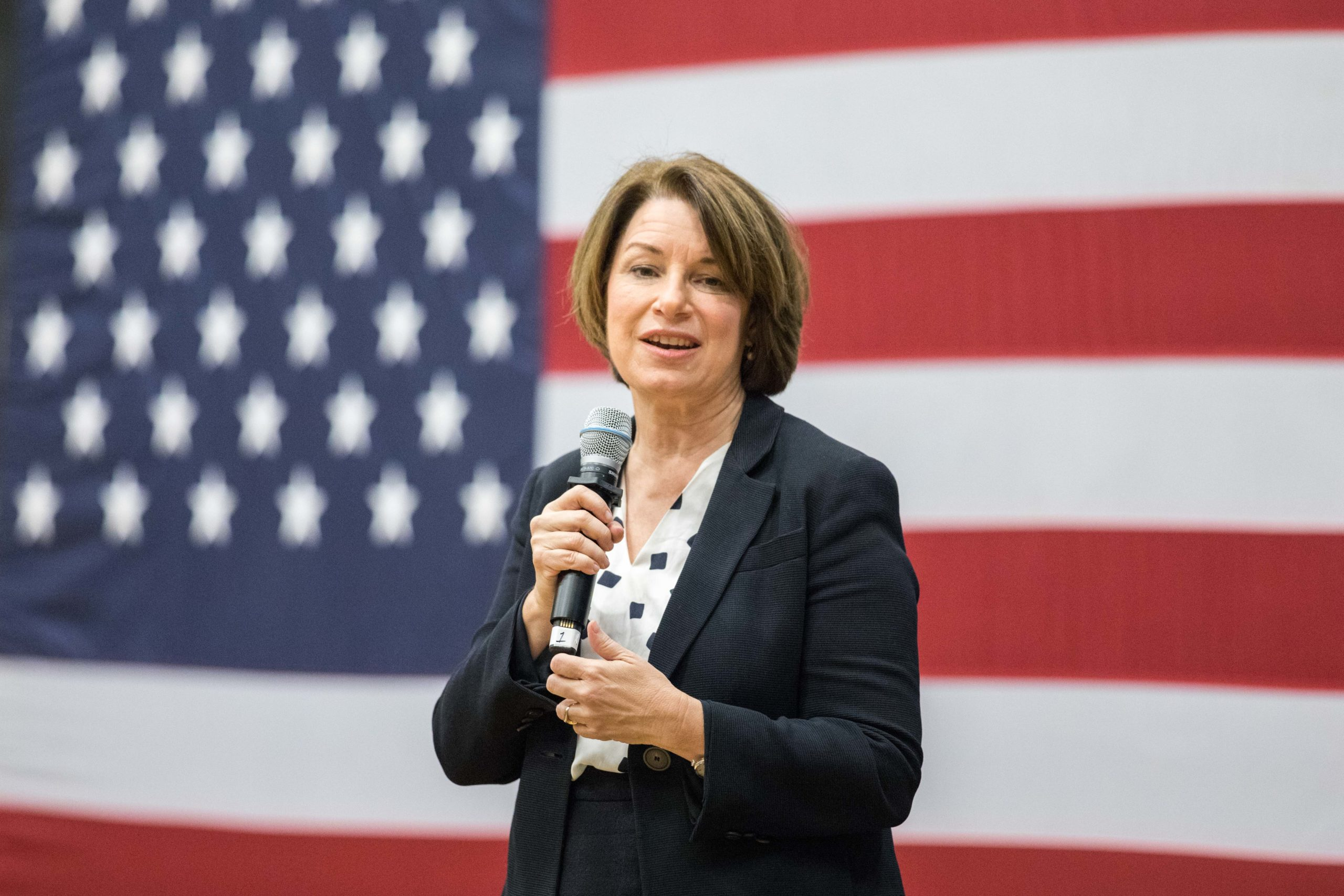 Democratic presidential candidate Sen. Amy Klobuchar (D-MN) speaks during a town hall at Nashua Community College on October 25, 2019 in Nashua, New Hampshire. (Photo by Scott Eisen/Getty Images)
