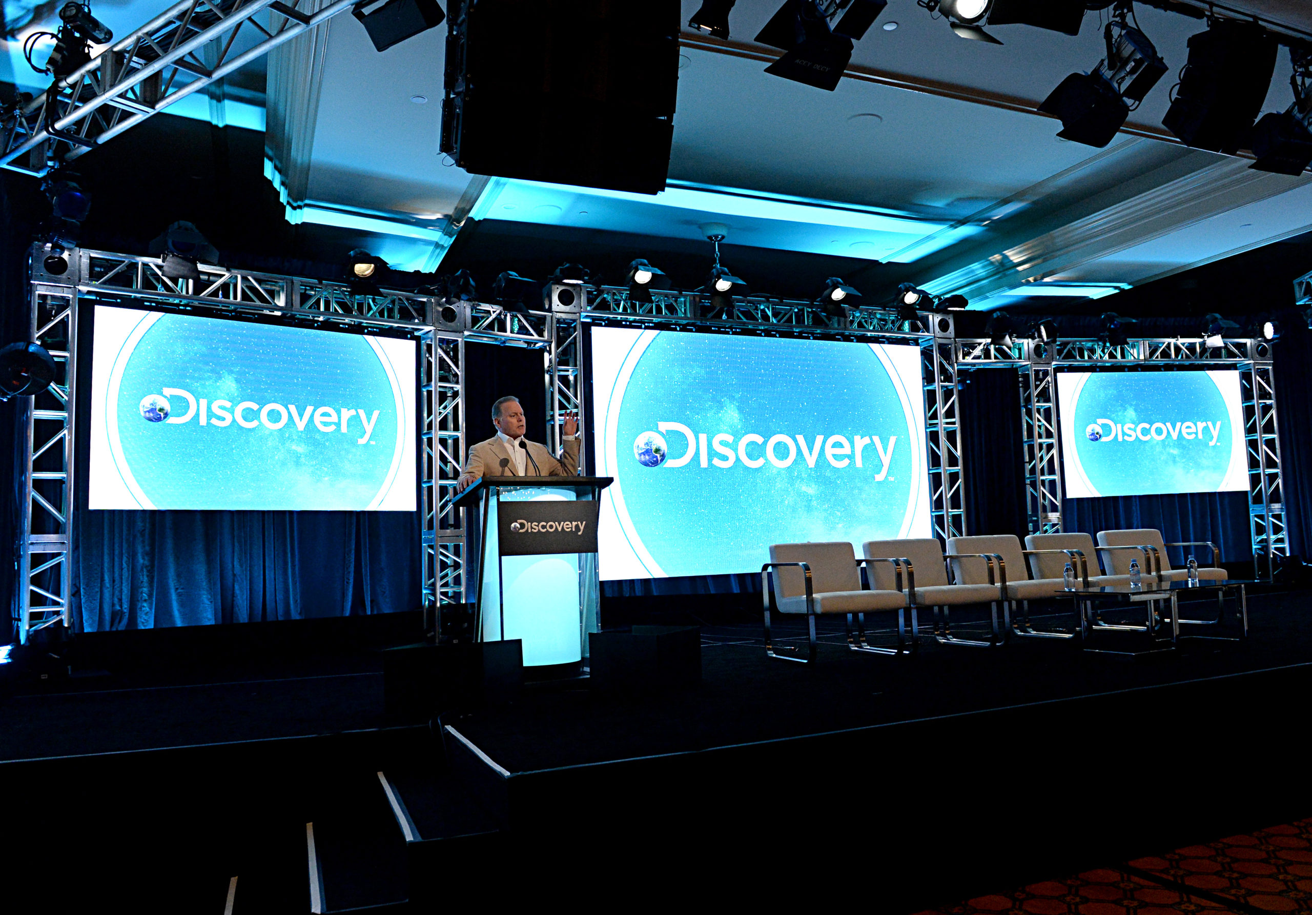 David Zaslav, president and CEO of Discovery, speaks onstage during a meeting on Jan. 16, 2020 in Pasadena, California. (Amanda Edwards/Getty Images for Discovery, Inc.)