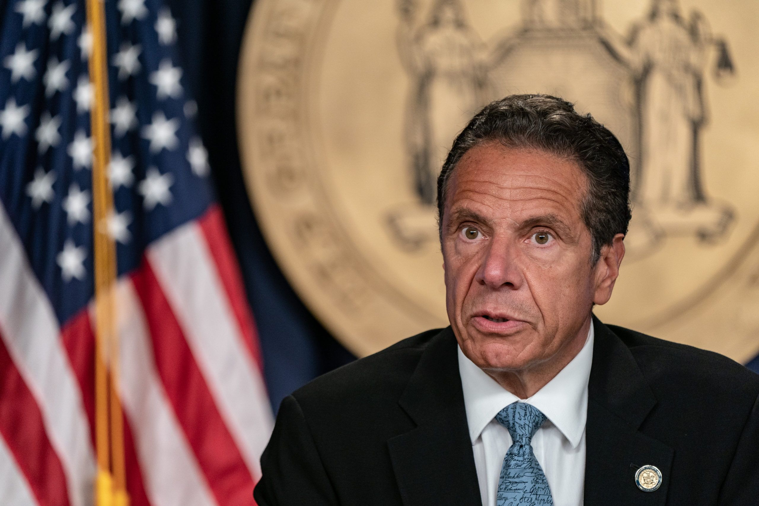 New York Gov. Andrew Cuomo speaks during the daily media briefing at the Office of the Governor of the State of New York on July 23, 2020 in New York City. The Governor said the state liquor authority has suspended 27 bar and restaurant alcohol licenses for violations of social distancing rules as public officials try to keep the coronavirus outbreak under control. (Photo by Jeenah Moon/Getty Images)