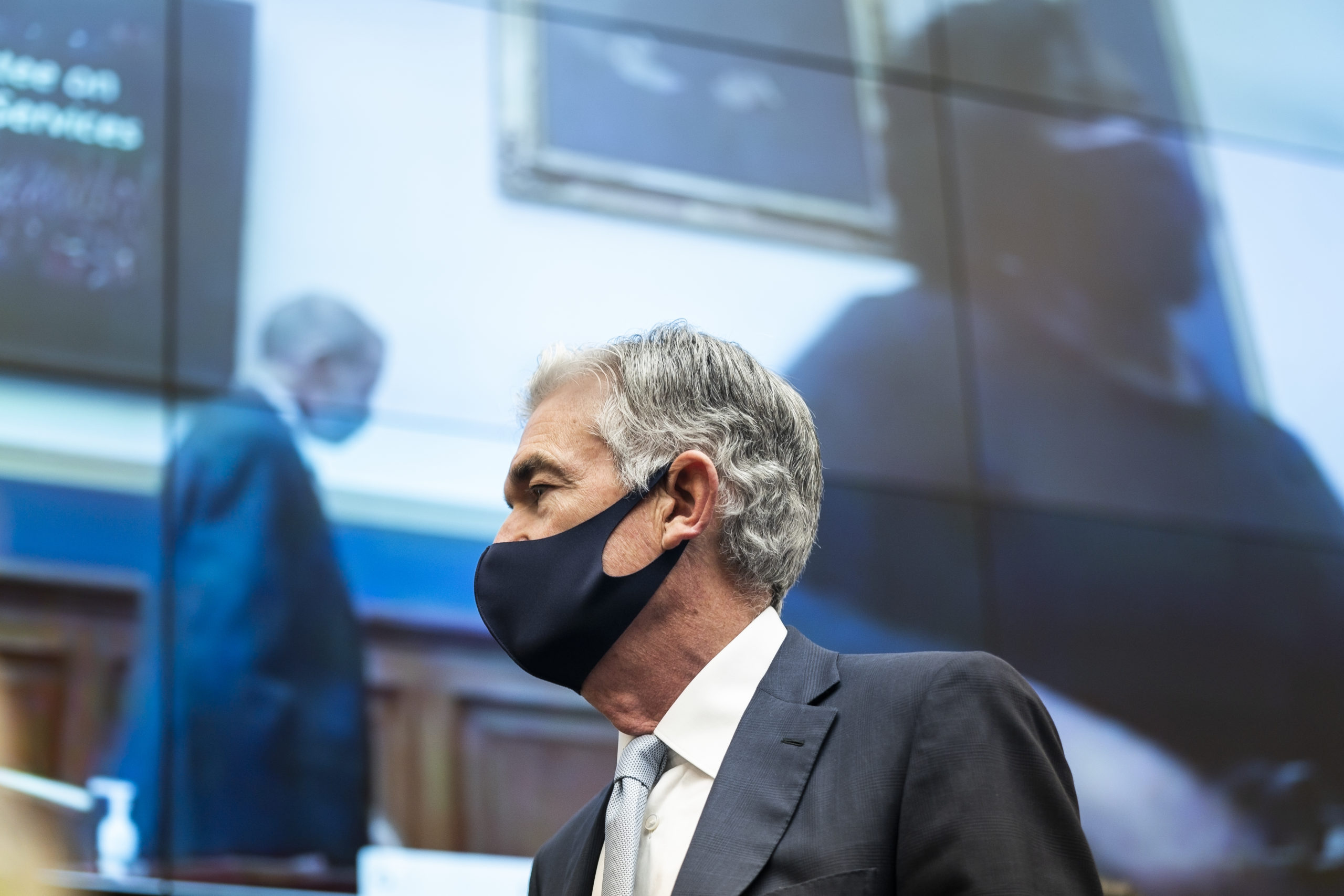 Federal Reserve Chair Jerome Powell prepares to speak at a House Financial Services Committee hearing in December. (Jim Lo Scalzo/Pool/Getty Images)