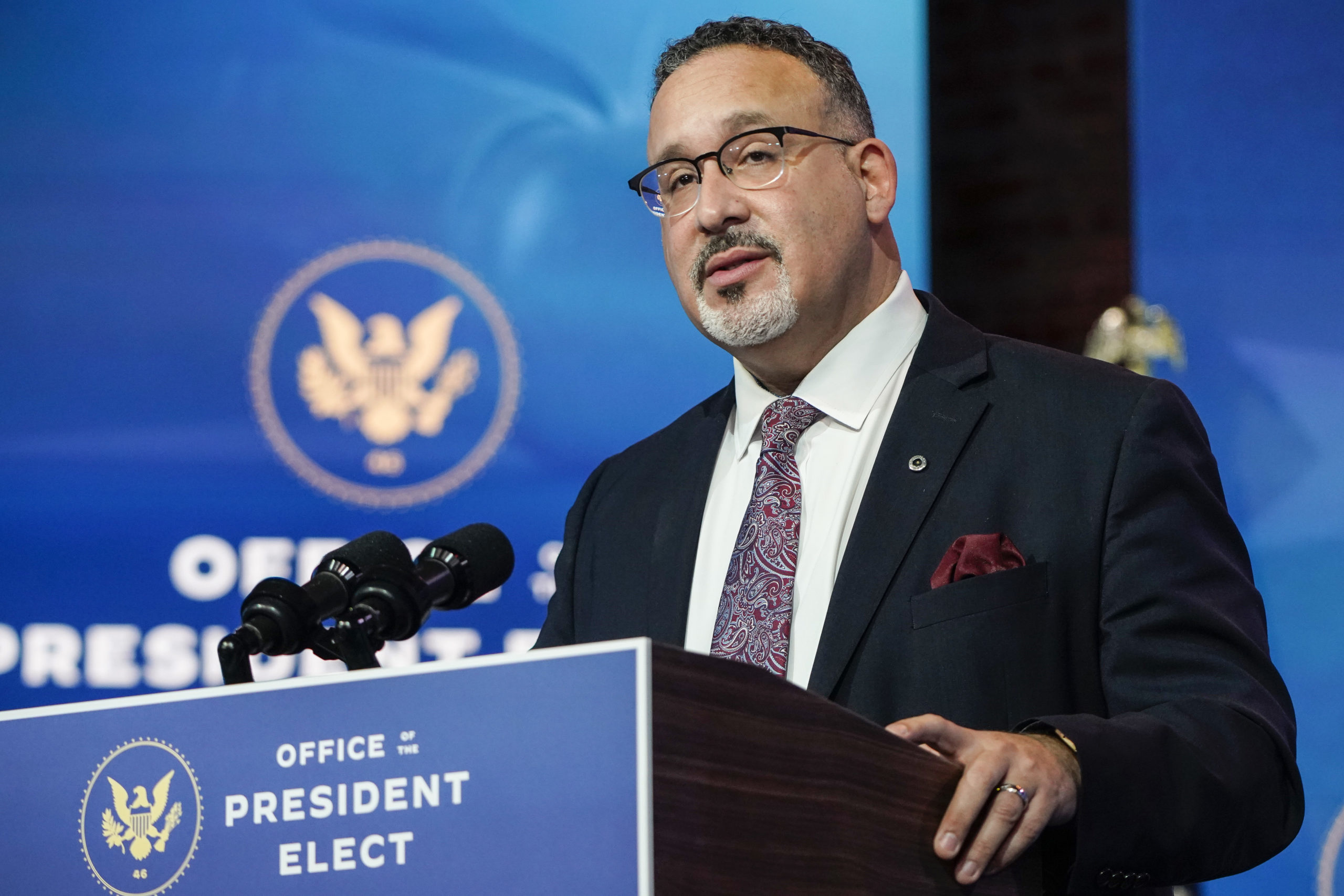 Miguel Cardona speaks after President-Elect Joe Biden announced his nomination for Education Secretary at the Queen theatre on December 23, 2020 in Wilmington, Delaware. (Joshua Roberts/Getty Images)
