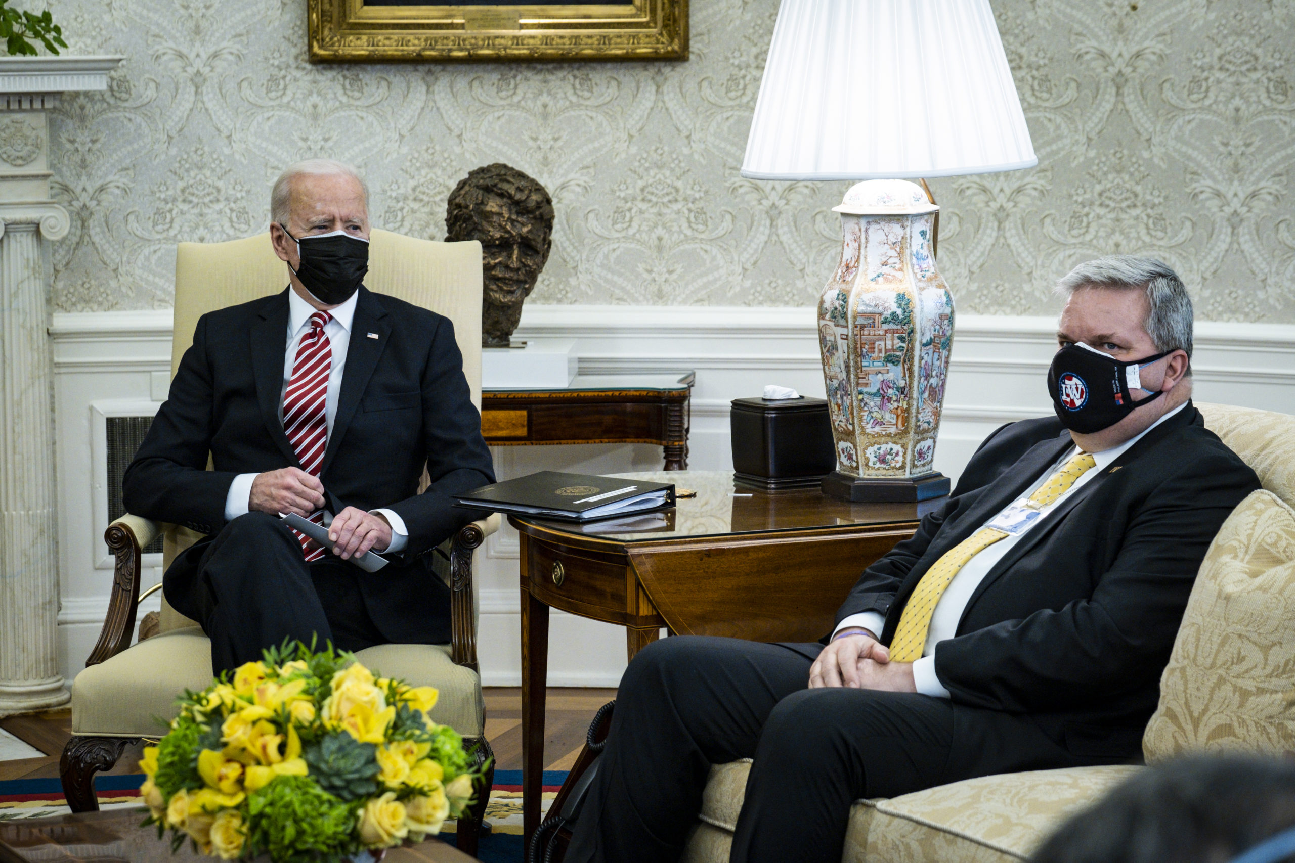President Joe Biden meet with labor union leaders, on Feb. 17. (Pete Marovich/Pool/Getty Images)