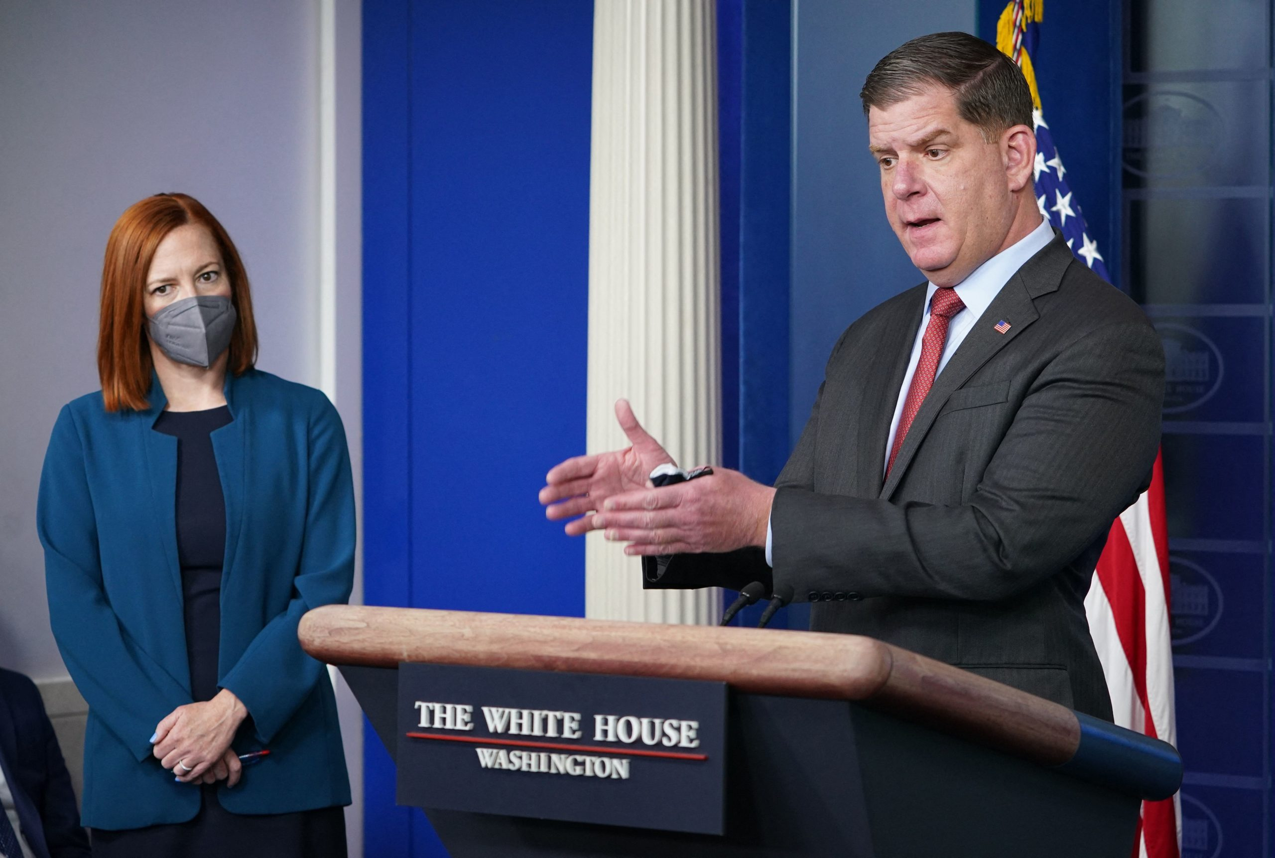 Secretary of Labor Marty Walsh speaks during a press briefing on April 2 at the White House. (Mandel Ngan/AFP via Getty Images)