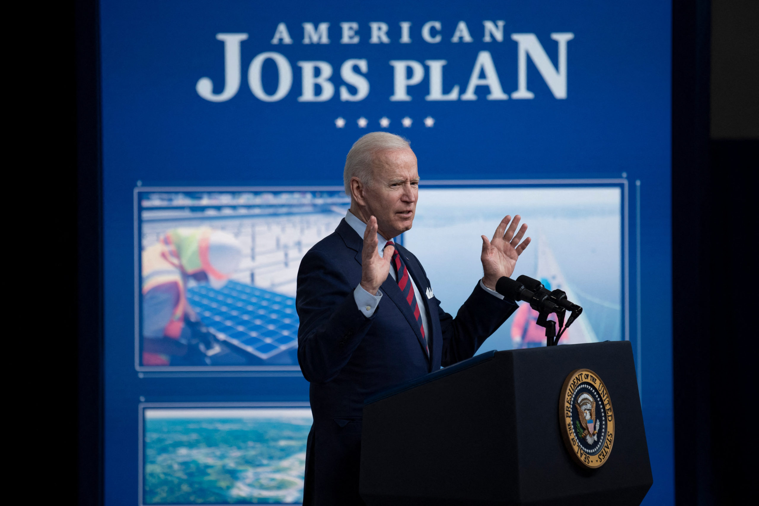 President Biden has urged Congress to pass his $2 trillion infrastructure plan to ensure US global leadership in the face of China's rising power. (Brendan Smialowski/AFP via Getty Images)