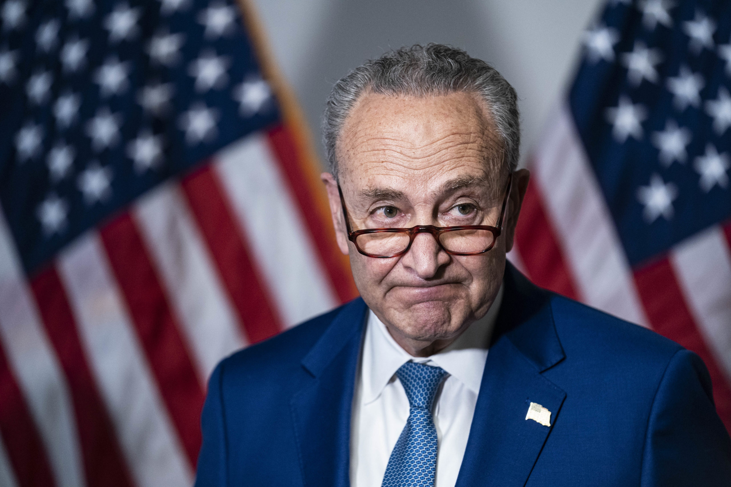 WASHINGTON, DC - APRIL 20: Senate Majority Leader Chuck Schumer (D-NY) speaks during a news conference following the weekly Democrat policy luncheon on Capitol Hill on April 20, 2021 in Washington, DC. The Democratic Senators spoke about the COVID-19 Hate Crimes Act. (Photo by Sarah Silbiger/Getty Images)