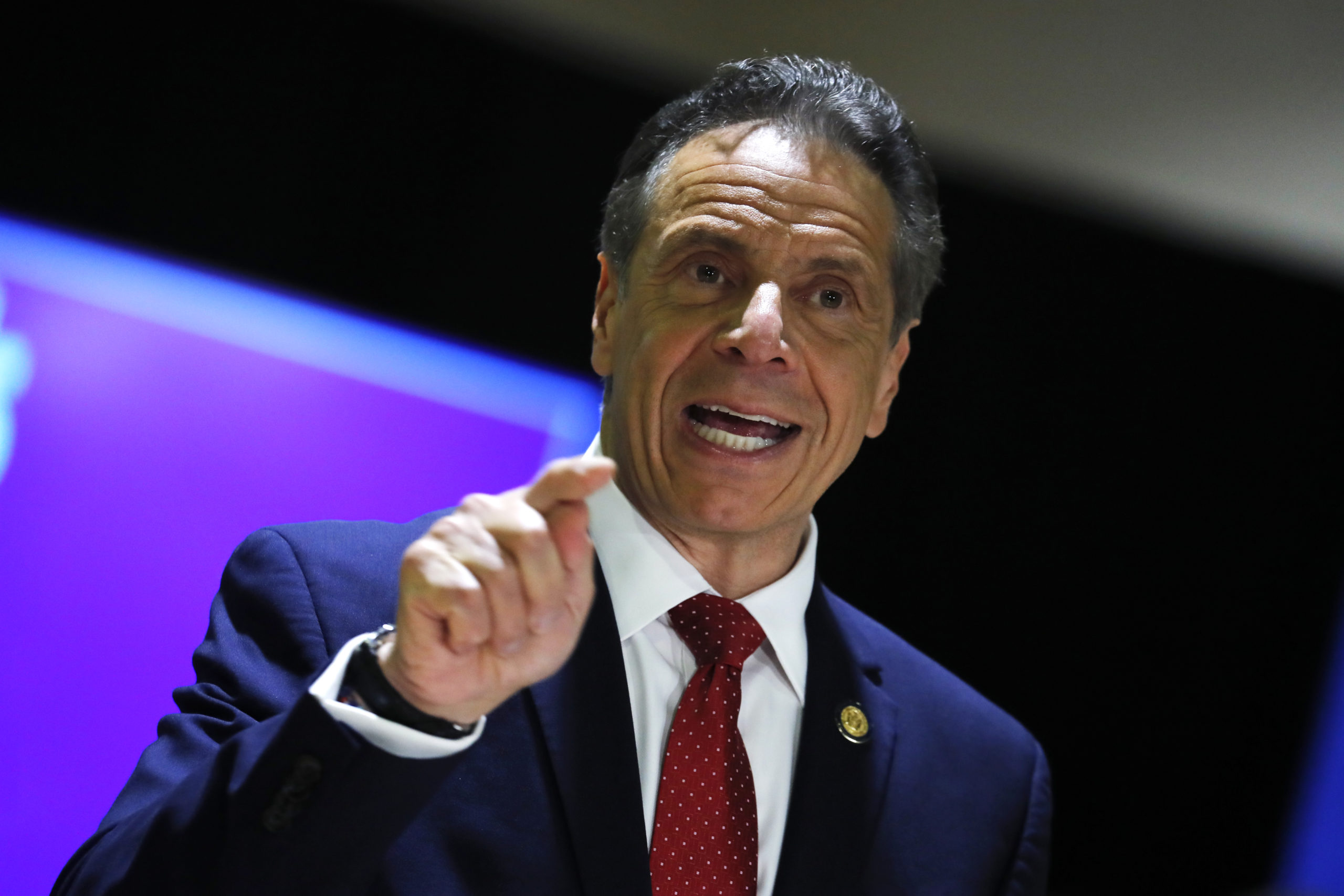 New York Governor Andrew Cuomo speaks at an event to announce five new walk-in pop-up vaccination sites for New York City Bodega, grocery store and supermarket workers amid the coronavirus disease (COVID-19) pandemic, in the Harlem section of Manhattan on April 23, 2021 in New York City. (Mike Segar-Pool/Getty Images)