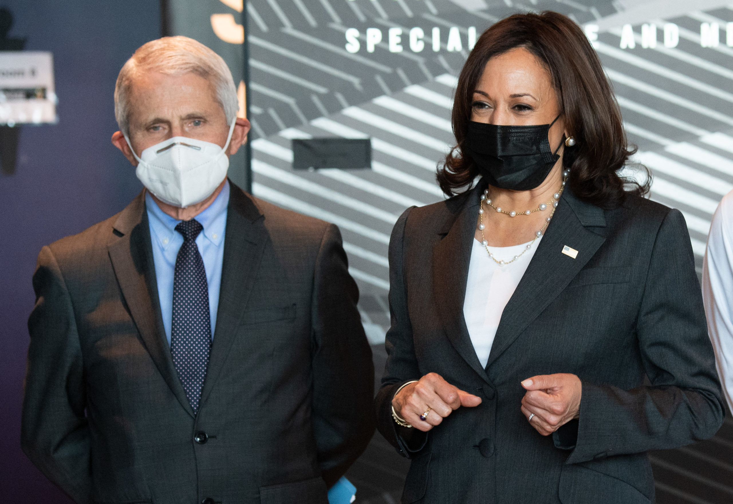 Vice President Kamala Harris tours a coronavirus vaccination site with Dr. Anthony Fauci at M&T Bank Stadium in Baltimore, Maryland on April 29. (Saul Loeb/AFP via Getty Images)