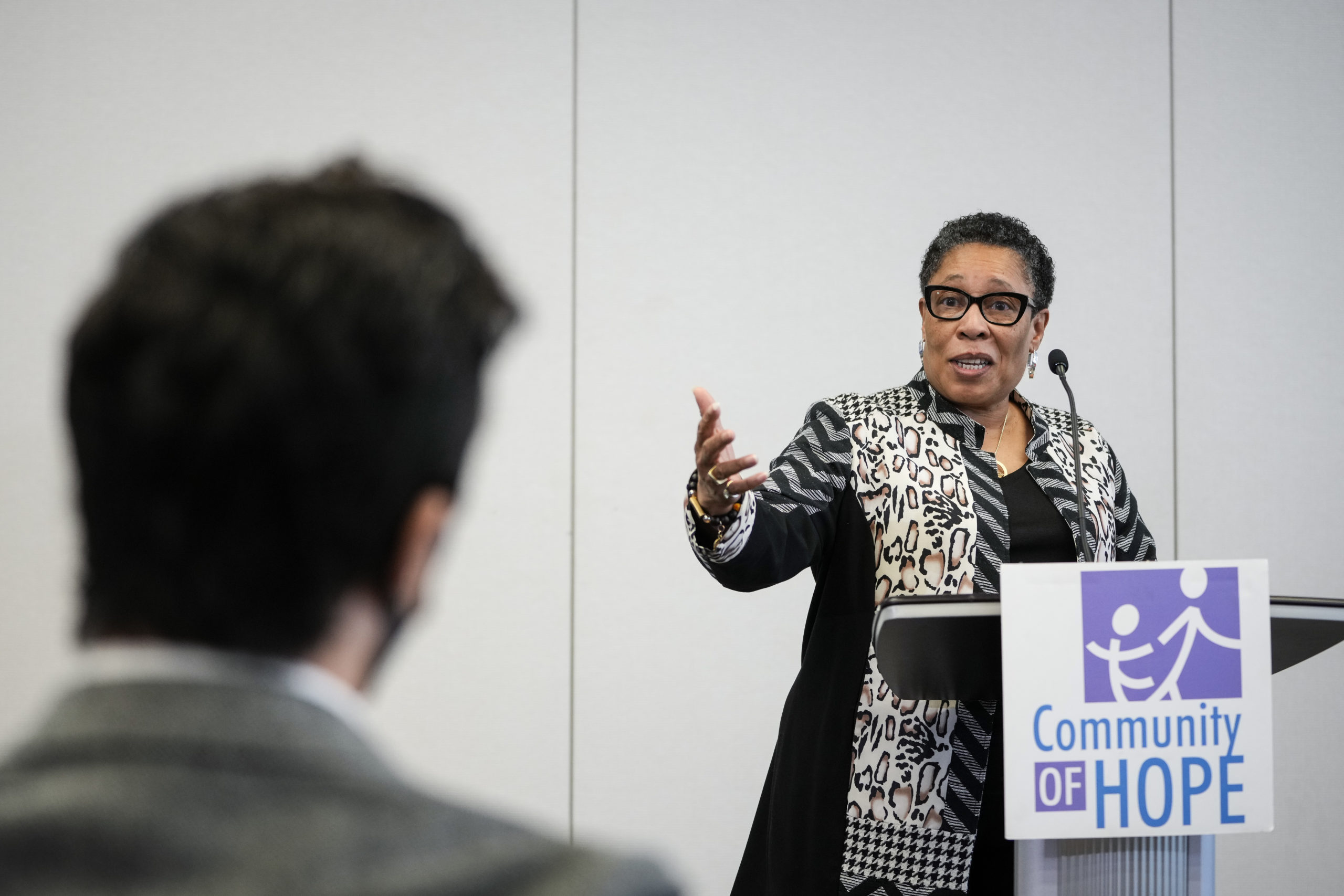 Secretary of Housing and Urban Development Marcia Fudge speaks to the press on May 5. (Drew Angerer/Getty Images)