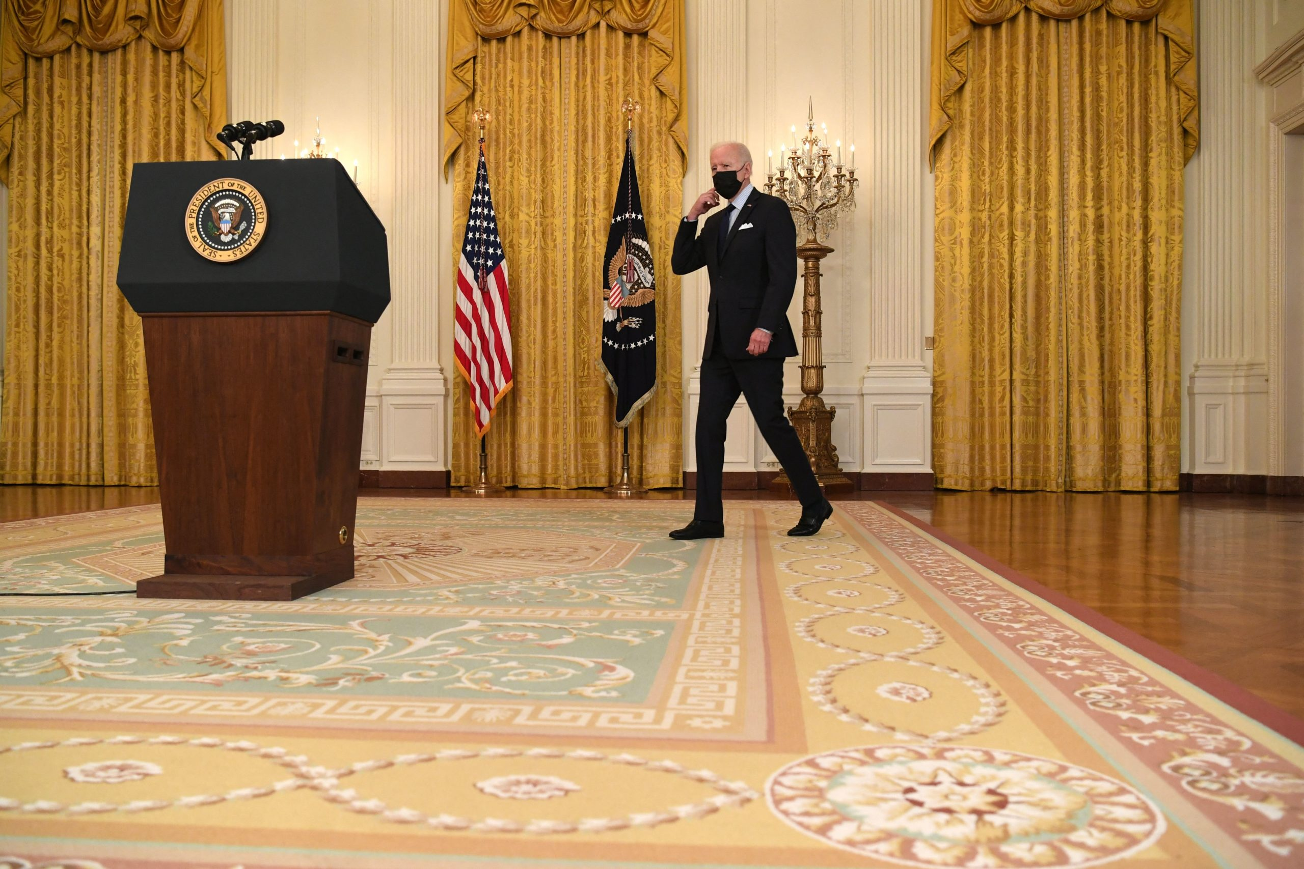 President Joe Biden arrives to speak about the April jobs report at the White House on Friday. (Saul Loeb/AFP via Getty Images)