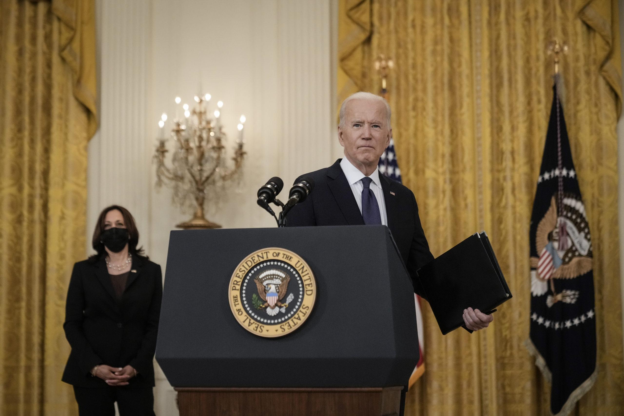 President Joe Biden departs after delivering remarks on the economy on Monday. (Drew Angerer/Getty Images)