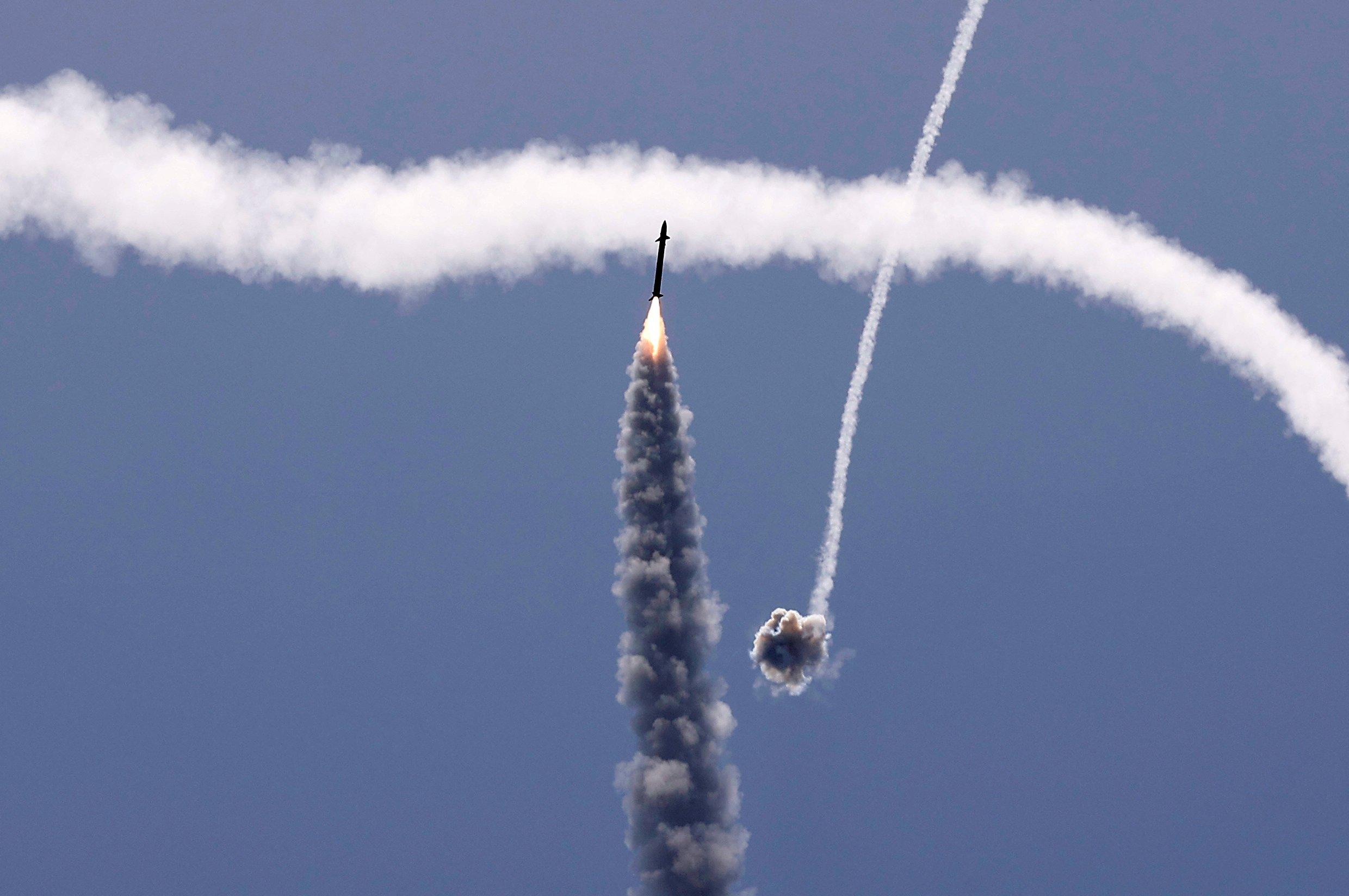 Israel's Iron Dome aerial defence system intercepts a rocket launched from the Gaza Strip, controlled by the Palestinian Hamas movement, above the southern Israeli city of Ashkelon, on May 11, 2021. (Photo by JACK GUEZ/AFP via Getty Images)