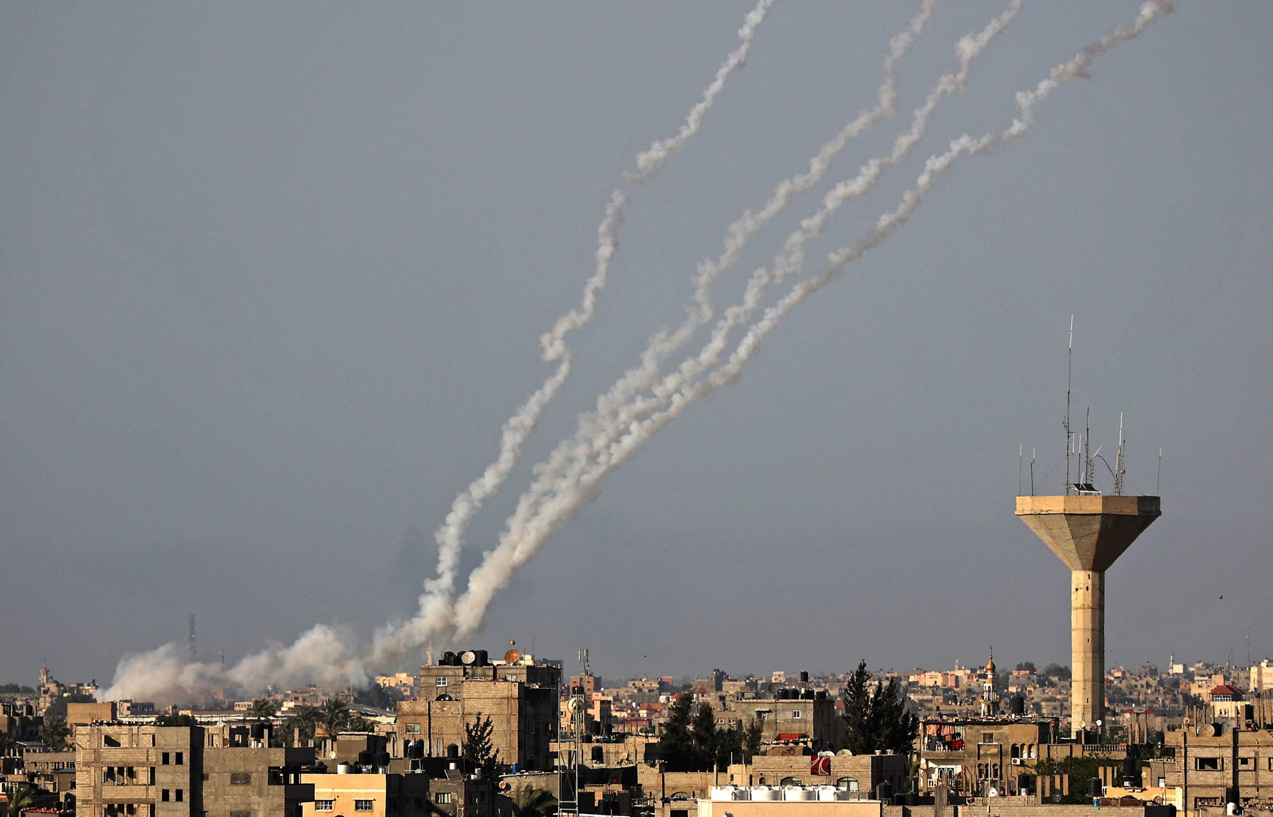 Rockets are launched towards Israel from Rafah, in the south of the Gaza Strip, controlled by the Palestinian Hamas movement, on May 11, 2021. (Photo by SAID KHATIB / AFP) (Photo by SAID KHATIB/AFP via Getty Images)