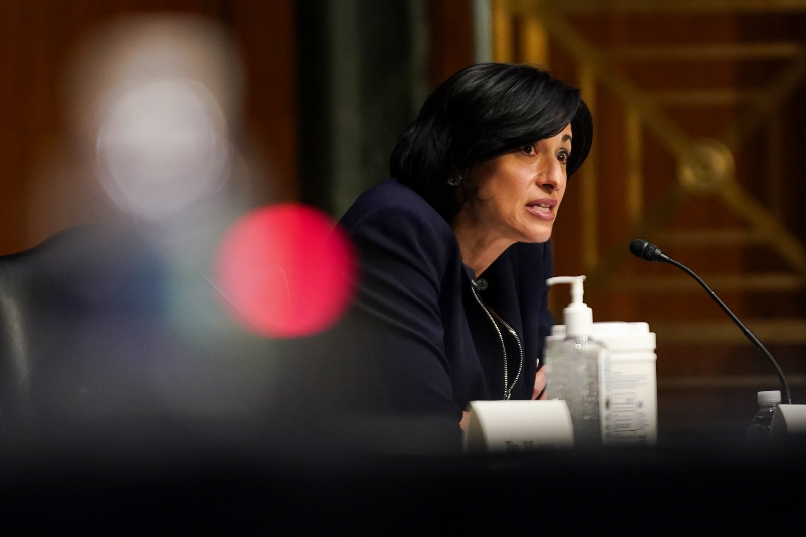Centers for Disease Control and Prevention Director Rochelle Walensky speaks during a Senate hearing on Tuesday. (Greg Nash/Pool/Getty Images)