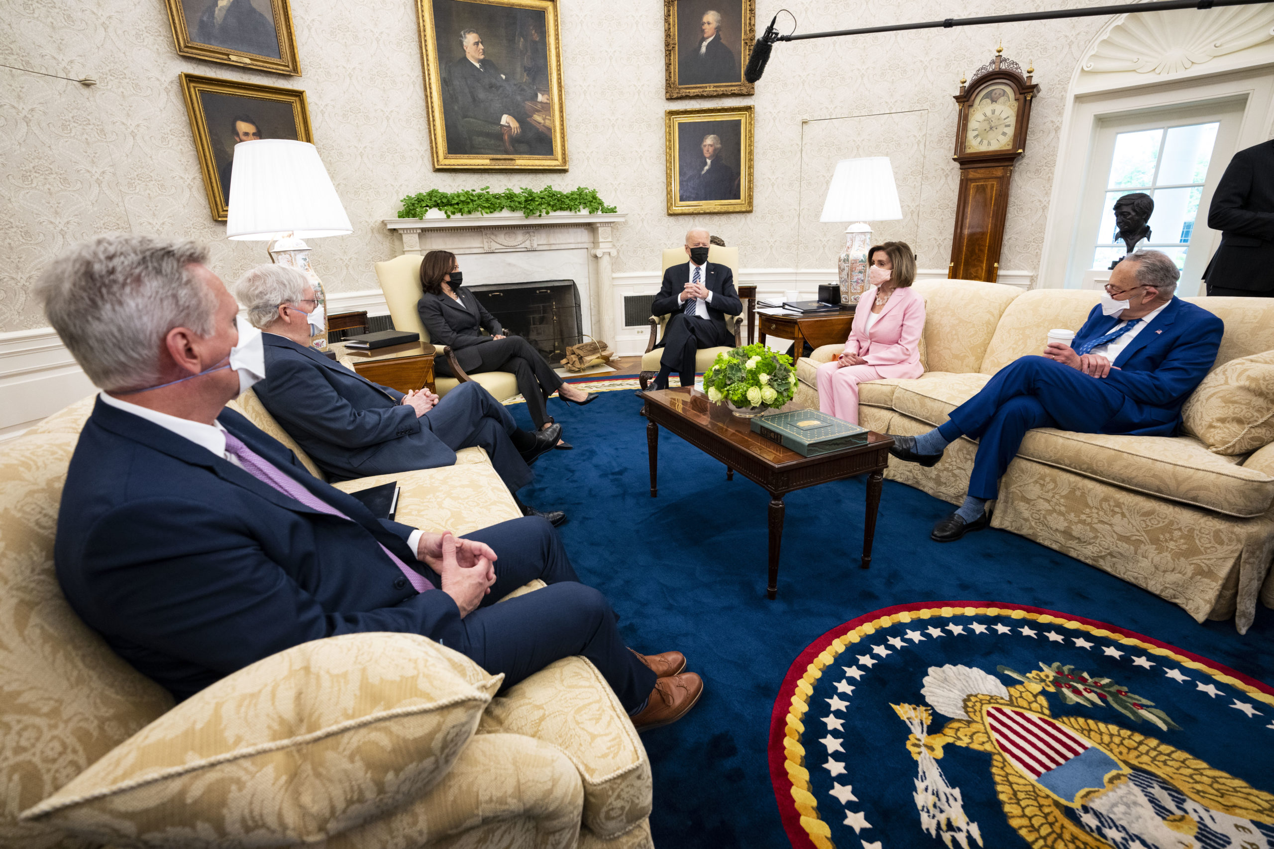President Joe Biden meets with Republican and Democratic congressional leaders on Wednesday at the White House. (Doug Mills/Pool/Getty Images)