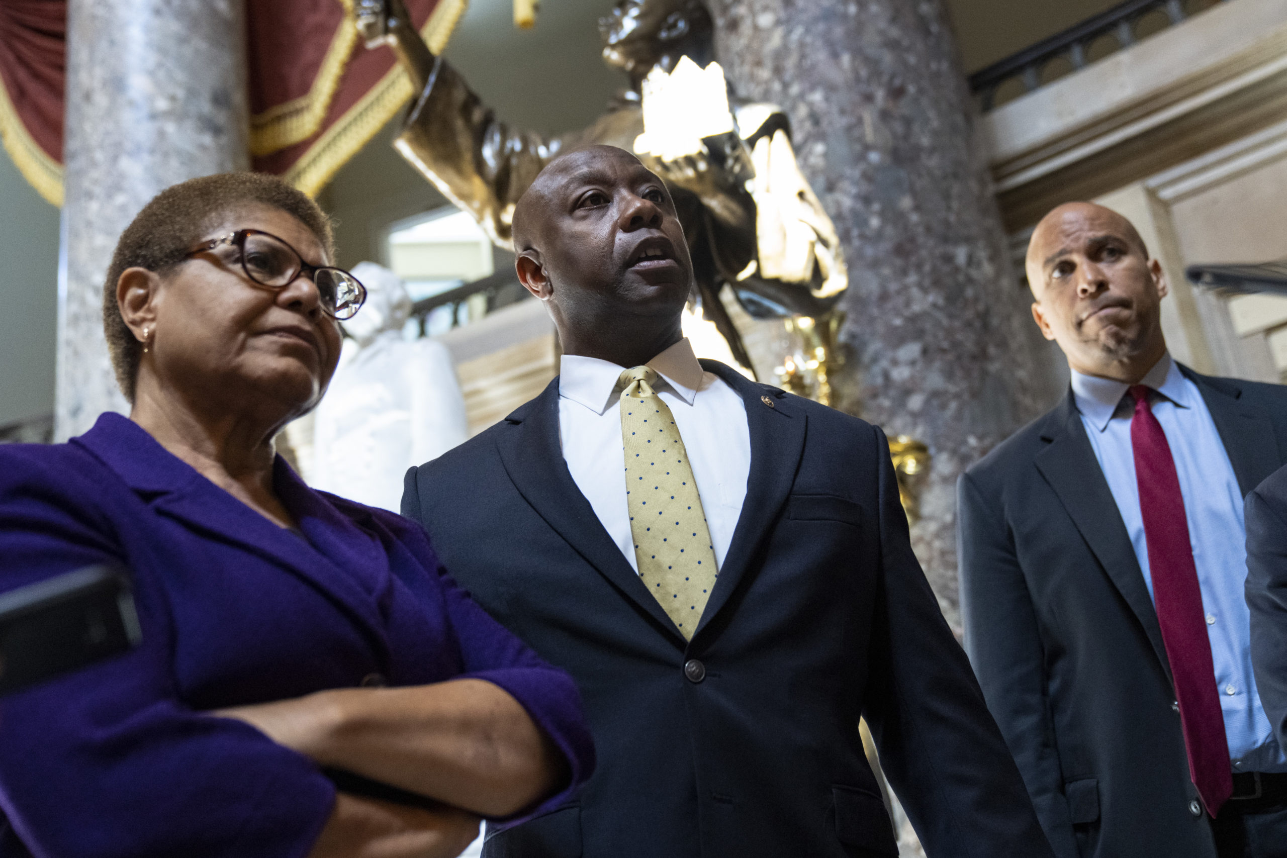 Rep. Karen Bass, Sen. Tim Scott and Sen. Cory Booker are leading discussions on a police reform package. (Drew Angerer/Getty Images)