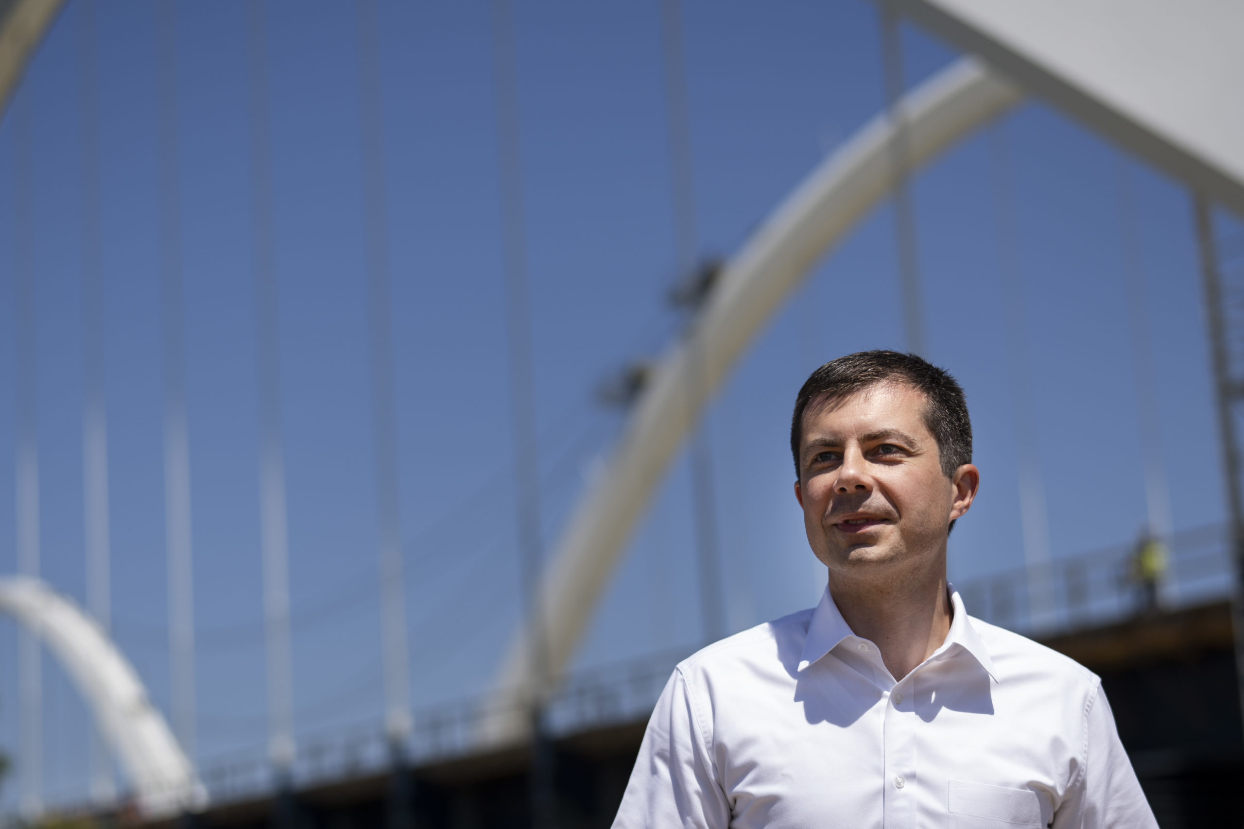 Transportation Secretary Pete Buttigieg arrives for a news conference after touring the construction site atop the new Frederick Douglass Memorial Bridge on May 19, 2021 in Washington, DC. (Drew Angerer/Getty Images)