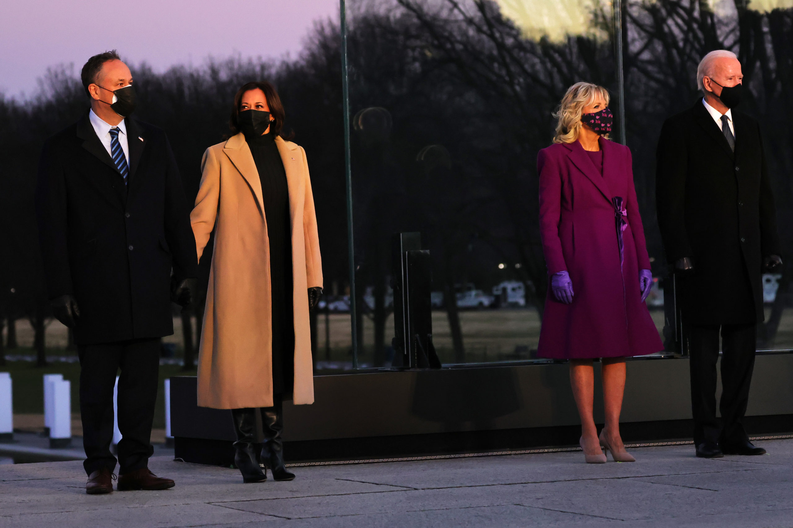 Doug Emhoff, Vice President-elect Kamala Harris, Dr. Jill Biden and President-elect Joe Biden at a memorial for victims of the coronavirus (COVID-19) pandemic at the Lincoln Memorial on the eve of the presidential inauguration on January 19, 2021 in Washington, DC. (Michael M. Santiago/Getty Images)