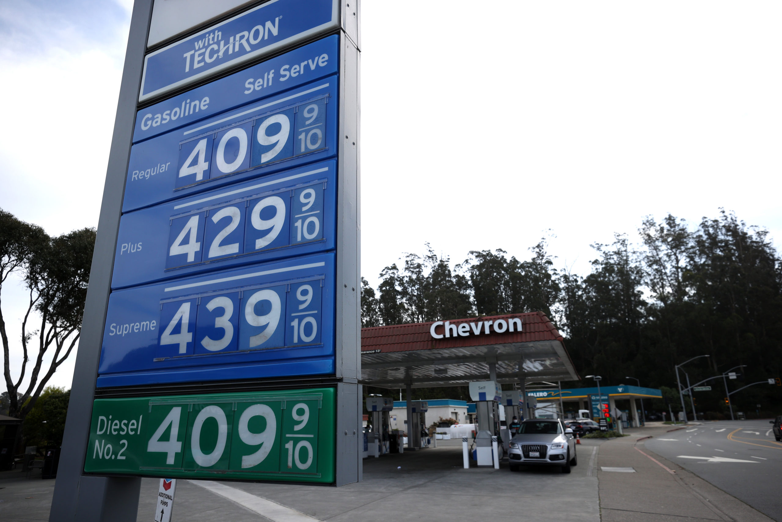 Gas prices over $4.00 per gallon are displayed at a Chevron gas station on March 3 in Mill Valley, California. (Justin Sullivan/Getty Images)