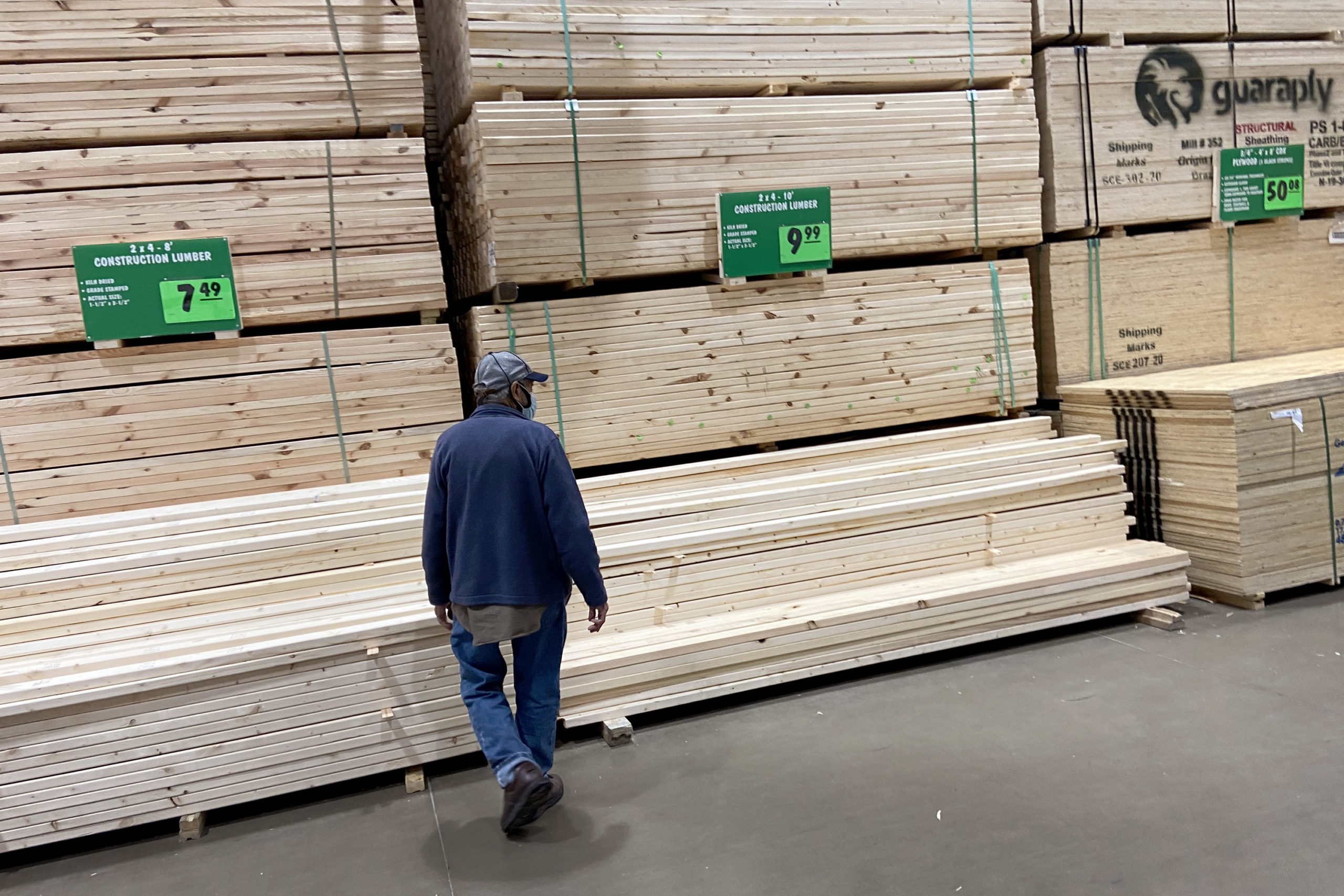 Stacks of lumber are offered for sale at a home center on April 5 in Chicago, Illinois. (Scott Olson/Getty Images)