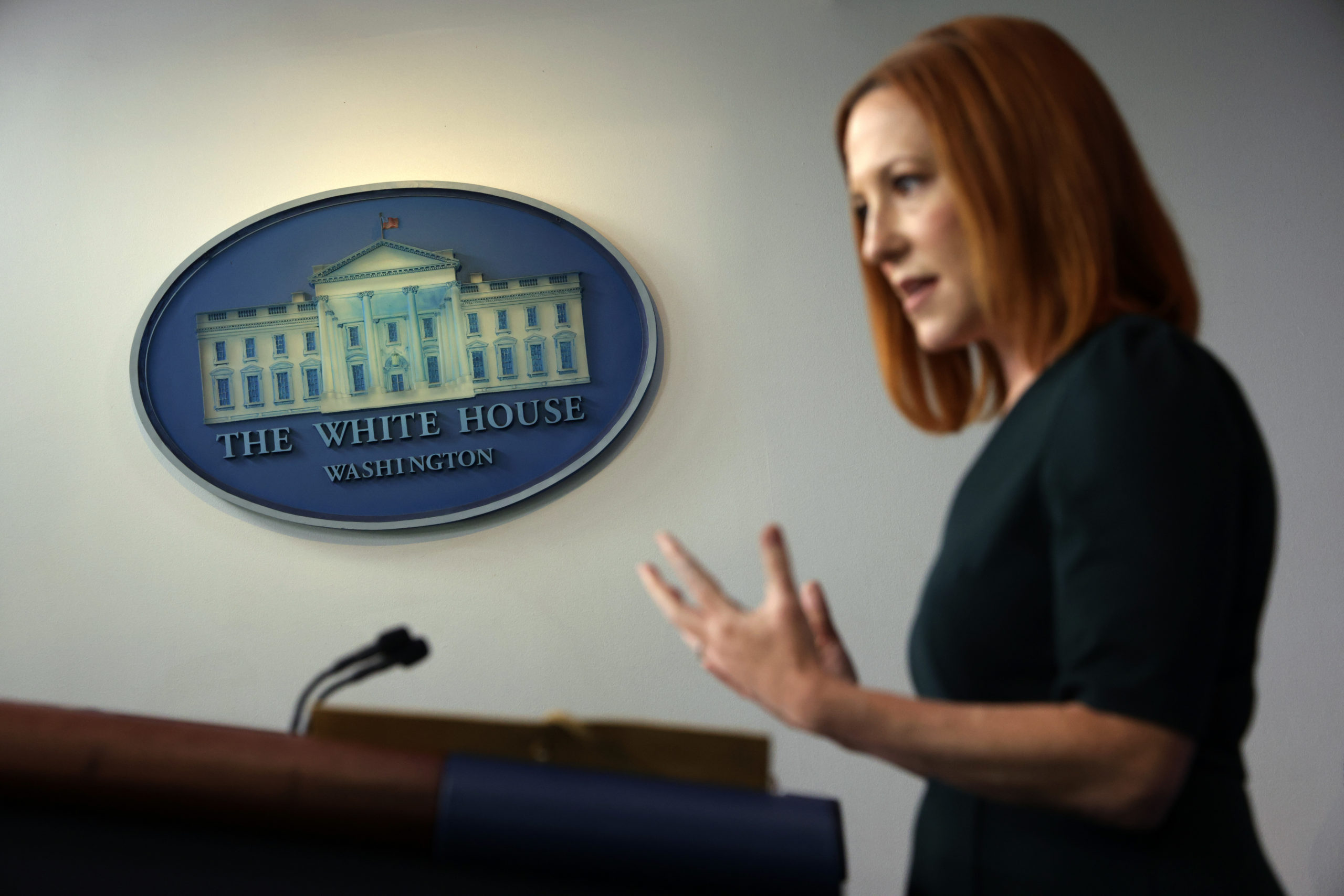 WASHINGTON, DC - MAY 04: White House Press Secretary Jen Psaki speaks during a daily briefing at the James Brady Press Briefing Room of the White House May 4, 2021 in Washington, DC. U.S. President Joe Biden will deliver remarks on the COVID-19 response and the vaccination program later today. (Photo by Alex Wong/Getty Images)